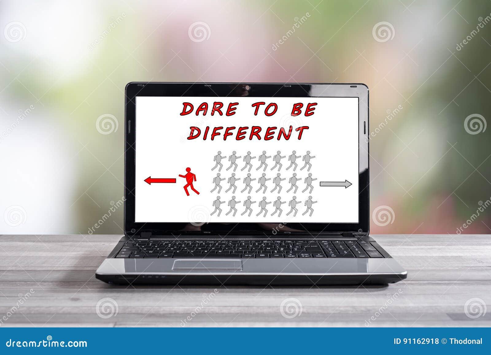 Τολμήστε να είστε διαφορετική έννοια σε μια οθόνη lap-top