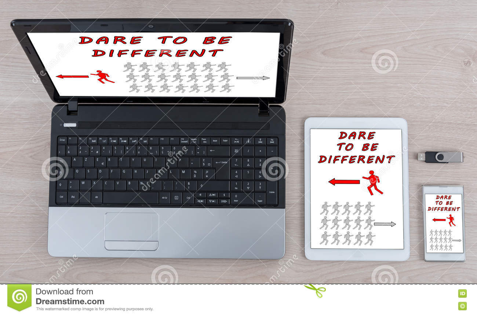 Τολμήστε να είστε διαφορετική έννοια στις διαφορετικές συσκευές τεχνολογίας πληροφοριών