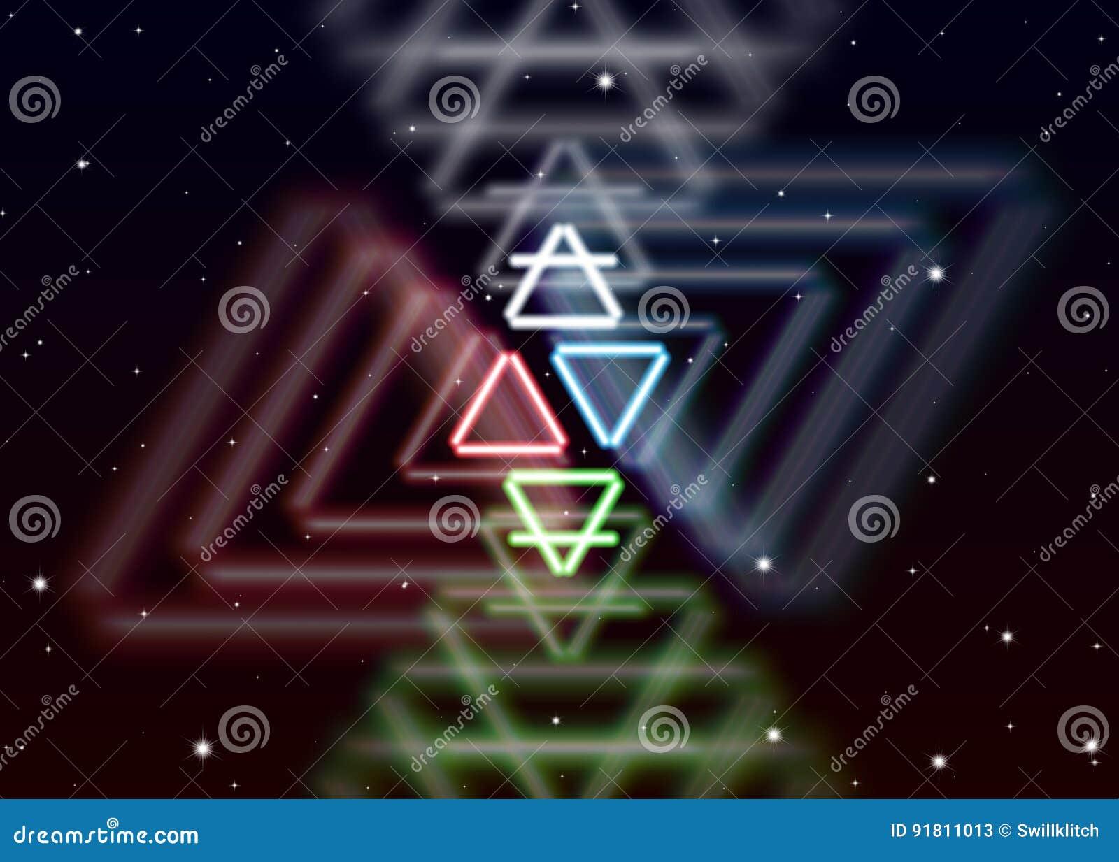 Το μαγικό σύμβολο στοιχείων διαδίδει τη λαμπρή απόκρυφη ενέργεια στο πνευματικό διάστημα
