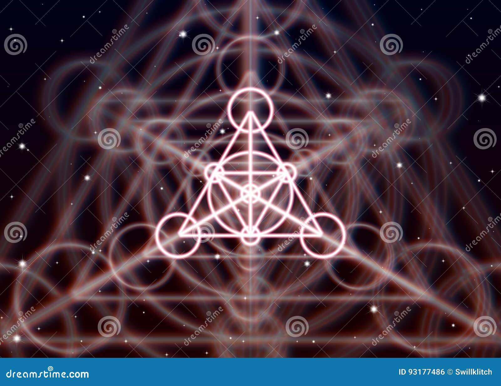 Το μαγικό σύμβολο τριγώνων διαδίδει τη λαμπρή απόκρυφη ενέργεια στο πνευματικό διάστημα