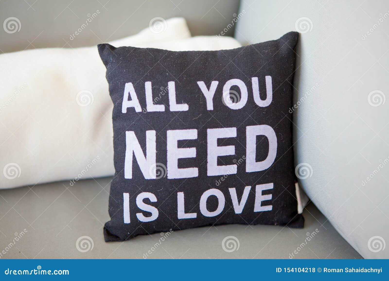 Το μαύρο μαξιλάρι κινηματογραφήσεων σε πρώτο πλάνο με όλη επιγραφής που χρειάζεστε είναι αγάπη σε έναν ελαφρύ καναπέ με τα μαξιλά
