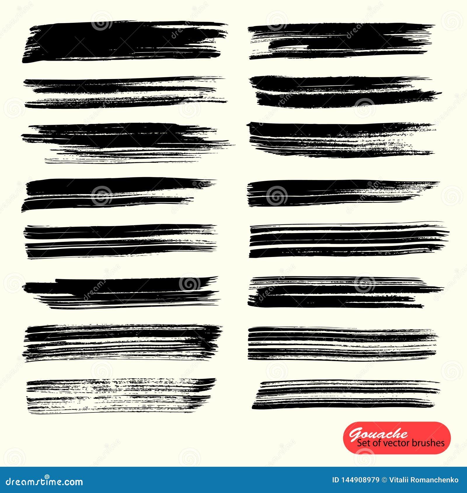 Διανυσματικό καλλιτεχνικό σκηνικό Το μαύρο χρώμα, ακρυλική βούρτσα, gouashe βουρτσίζει το κτύπημα, τη γραμμή ή τη σύσταση Μονοχρω