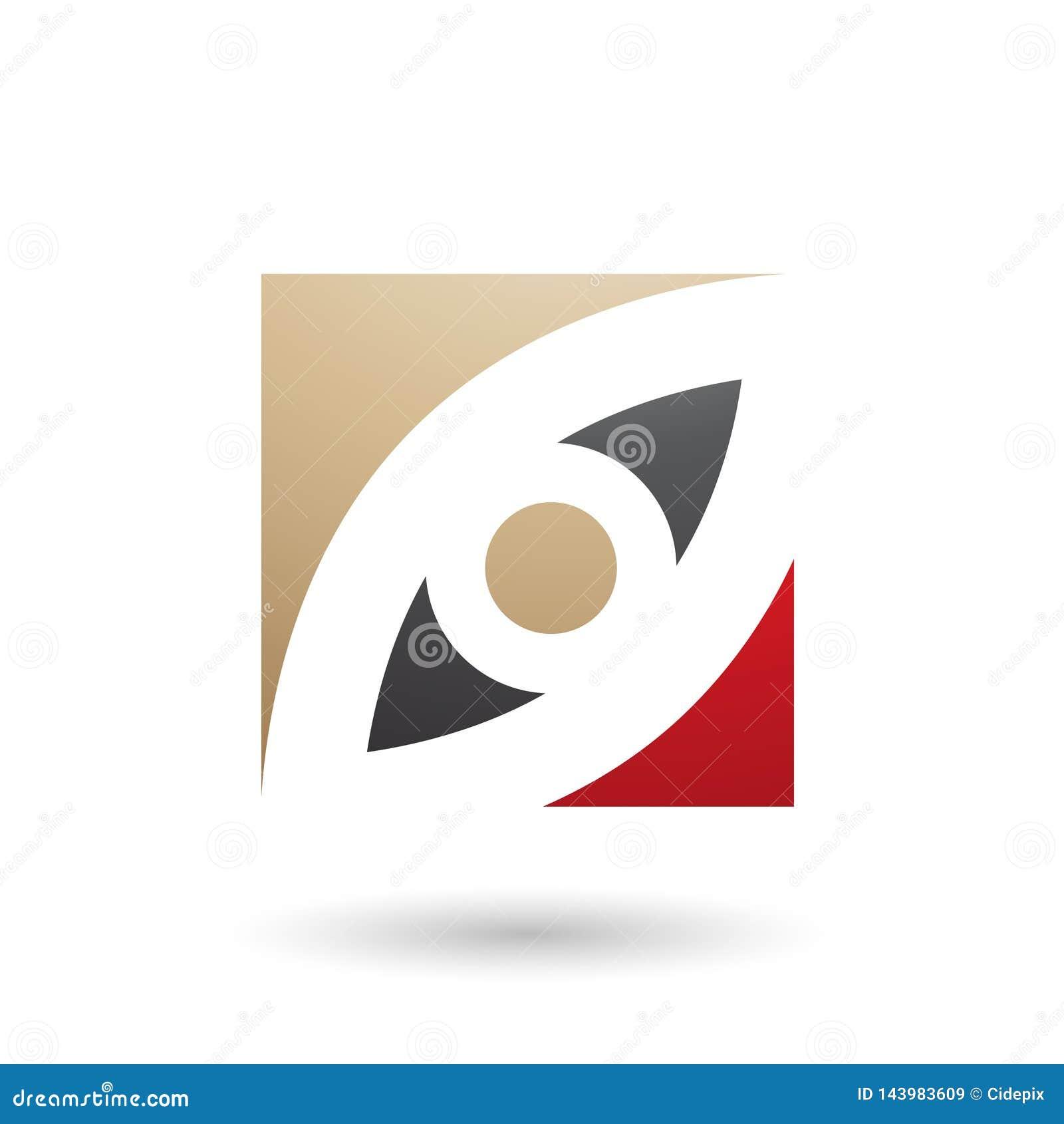 Το μπεζ μαύρο και κόκκινο μάτι διαμόρφωσε την τετραγωνική διανυσματική απεικόνιση