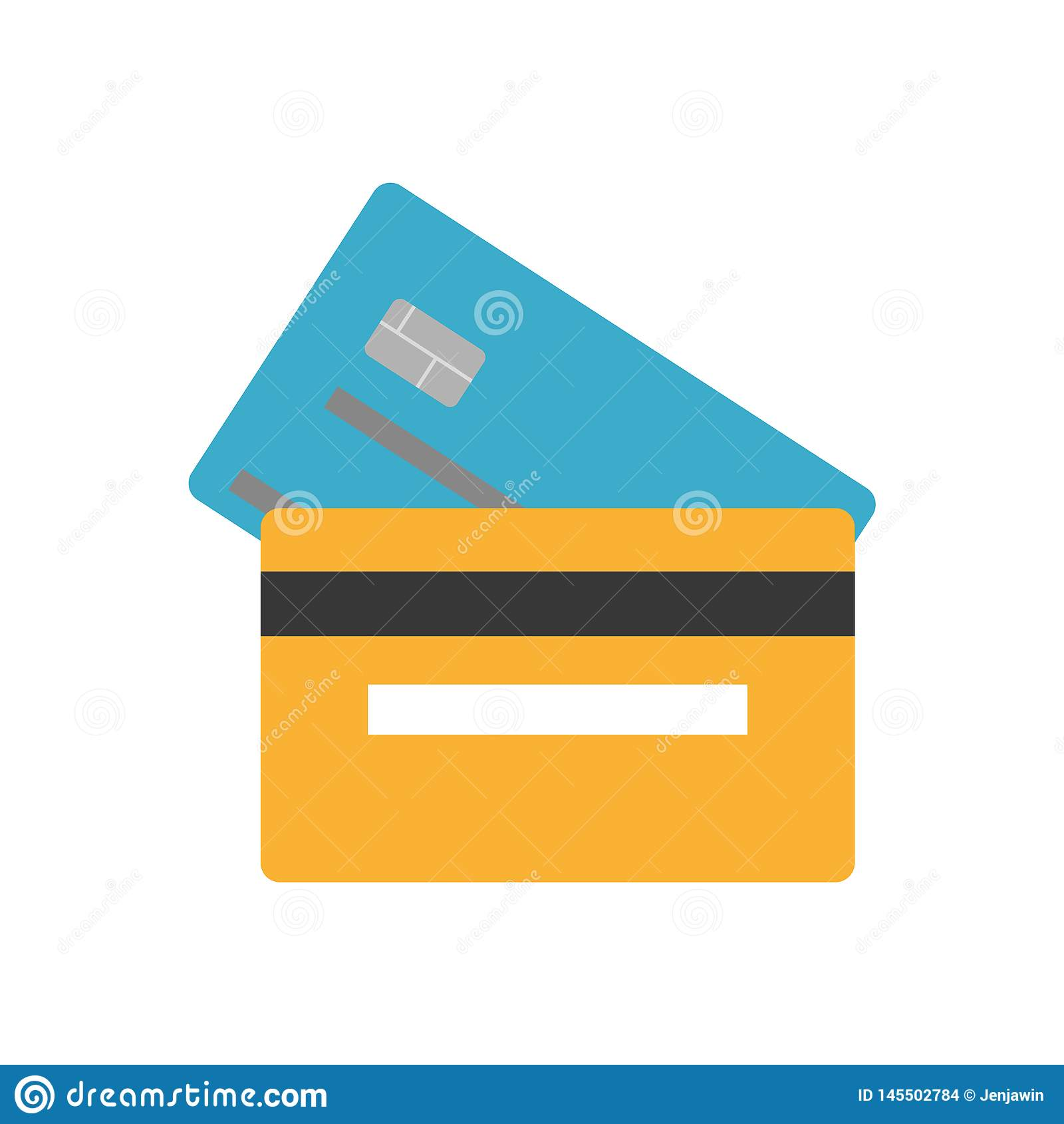Το μπλε και orande καταθέτει την πίσω και μπροστινή πλευρά πιστωτικών καρ