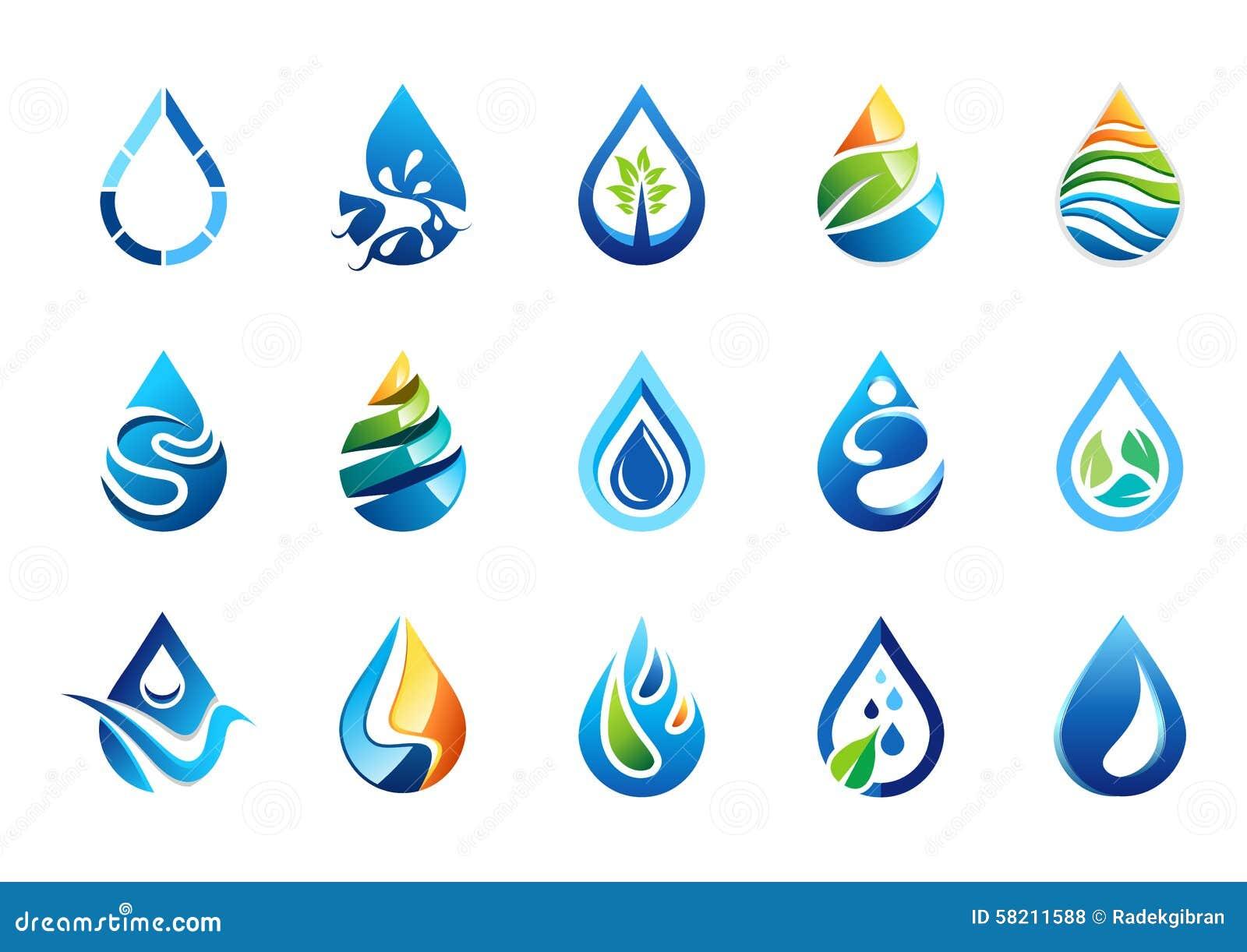 Το νερό ρίχνει το λογότυπο, σύνολο εικονιδίου συμβόλων πτώσεων νερού, διανυσματικό σχέδιο στοιχείων πτώσεων φύσης