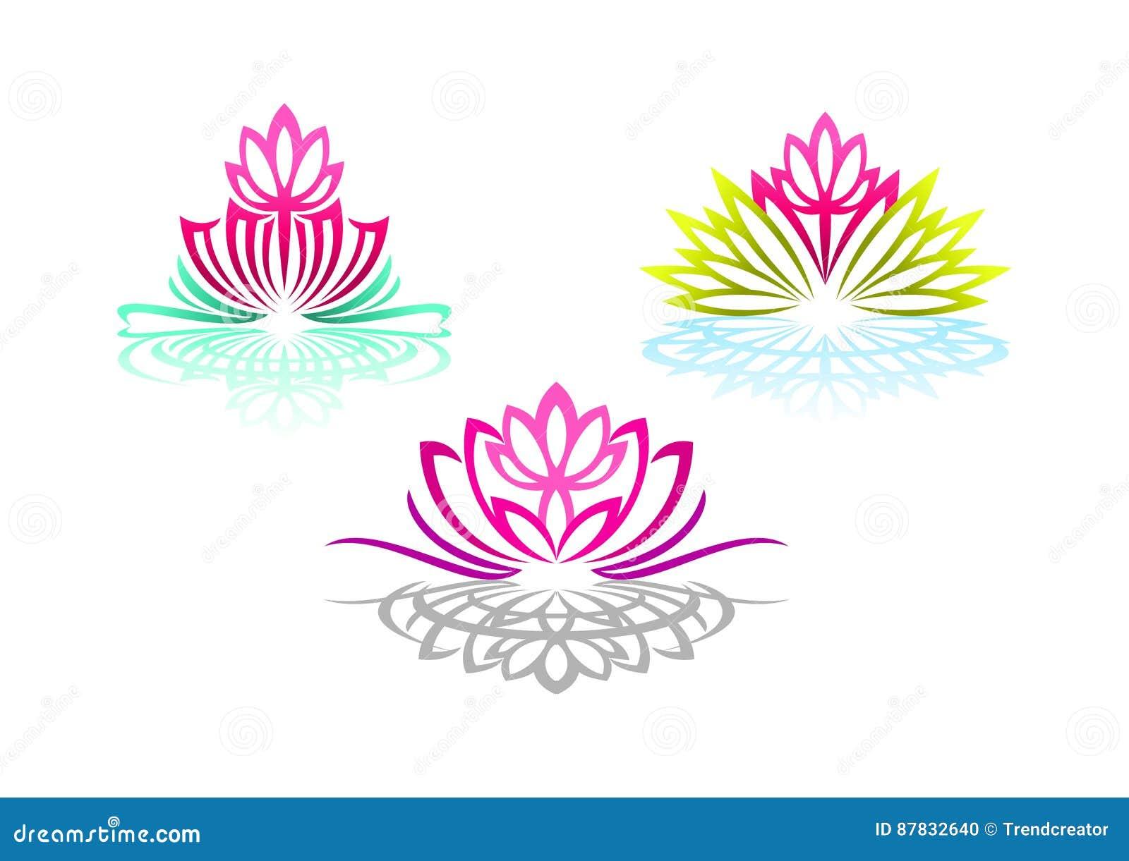 Το λογότυπο Lotus, γιόγκα γυναικών, μασάζ λουλουδιών ομορφιάς, όμορφη αίσθηση SPA, wellness αντανάκλασης, και φυσικός χαλαρώνει τ