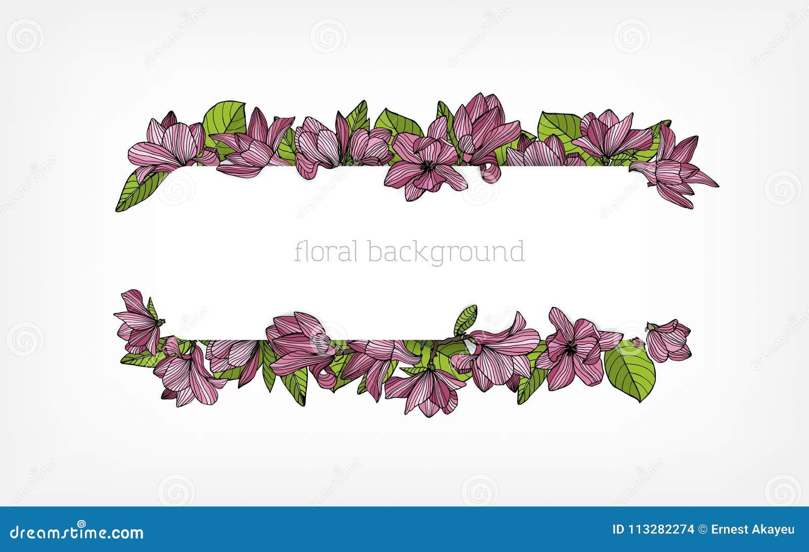 Το οριζόντιο υπόβαθρο, τα σύνορα ή το πλαίσιο που διακοσμούνται με το όμορφο ρόδινο magnolia άνθισης ανθίζουν και πράσινα φύλλα