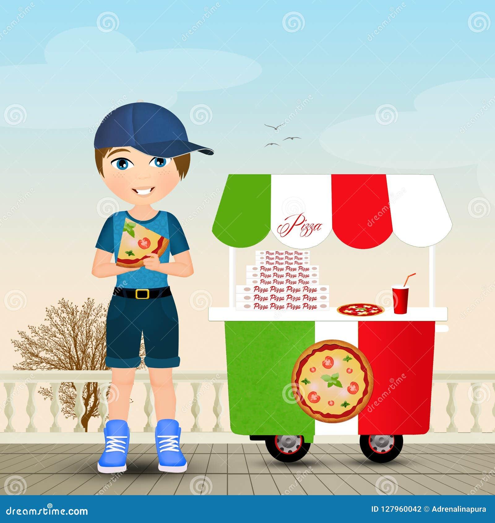 το παιδί τρώει την πίτσα