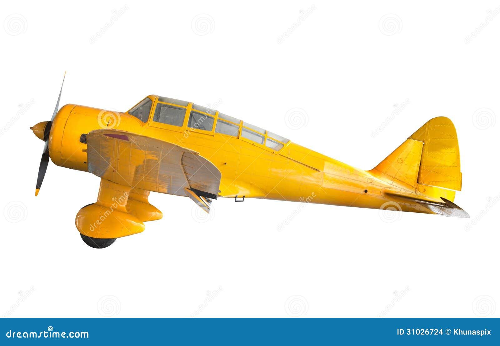 Το παλαιό κλασικό κίτρινο αεροπλάνο απομόνωσε το λευκό