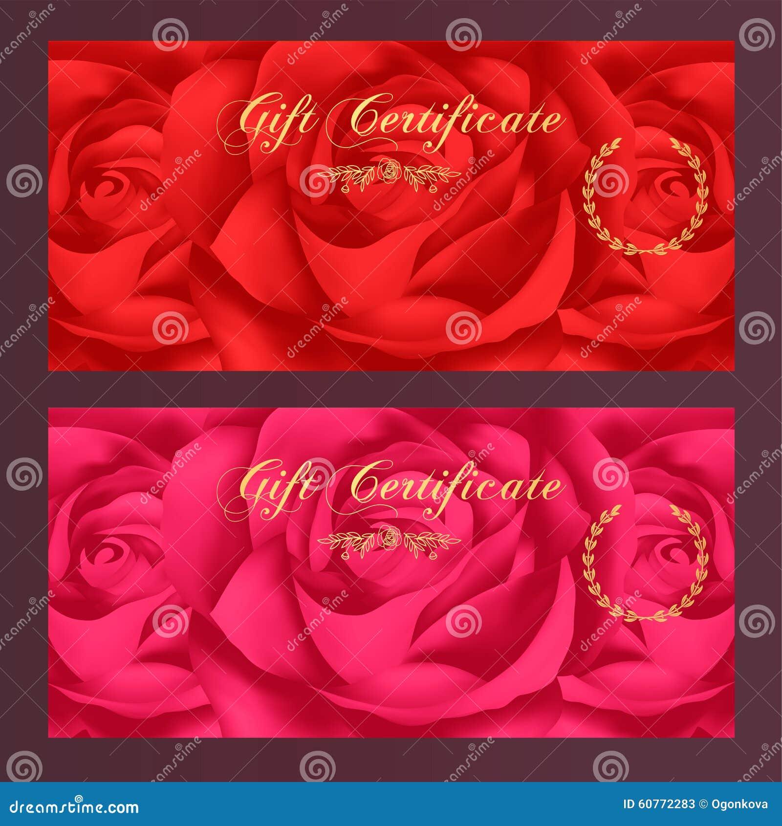 Το πιστοποιητικό δώρων, απόδειξη, δελτίο, πρότυπο ανταμοιβής/καρτών δώρων με αυξήθηκε (σχέδιο λουλουδιών) Σύνολο floral θηλυκού υ