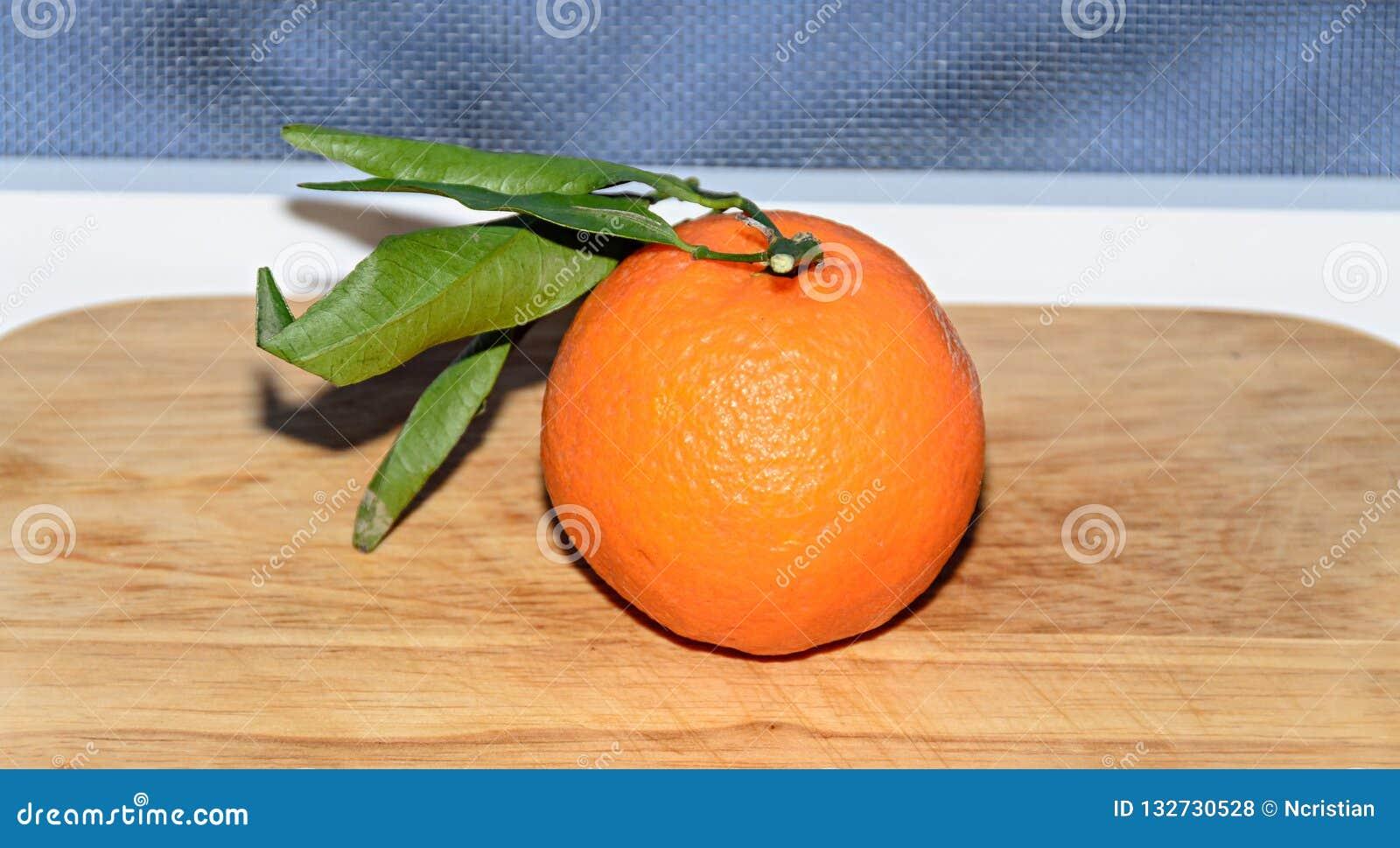 Το πορτοκαλί reticulata εσπεριδοειδών κινεζικής γλώσσας με τα πράσινα φύλλα, κλείνει επάνω