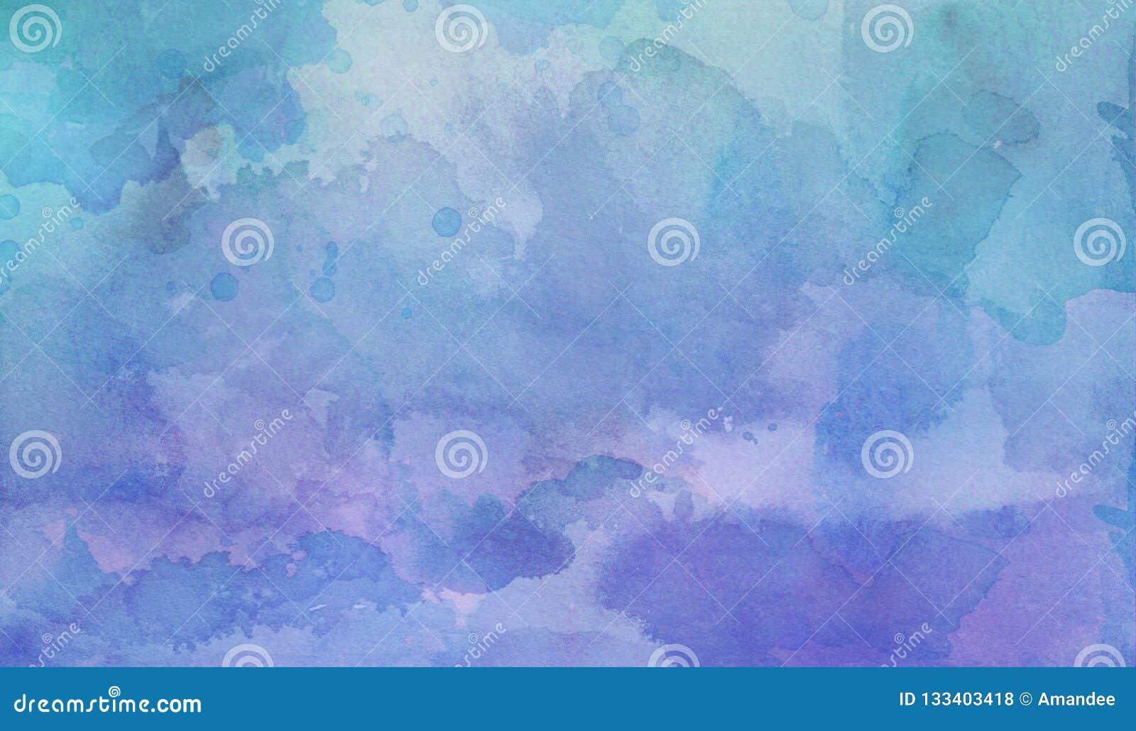 Το πορφυρό και γαλαζοπράσινο υπόβαθρο πλυσίματος watercolor με τις κηλίδες φλεβοτομίας και άνθισης περιθωρίου στο κοκκώδες waterc