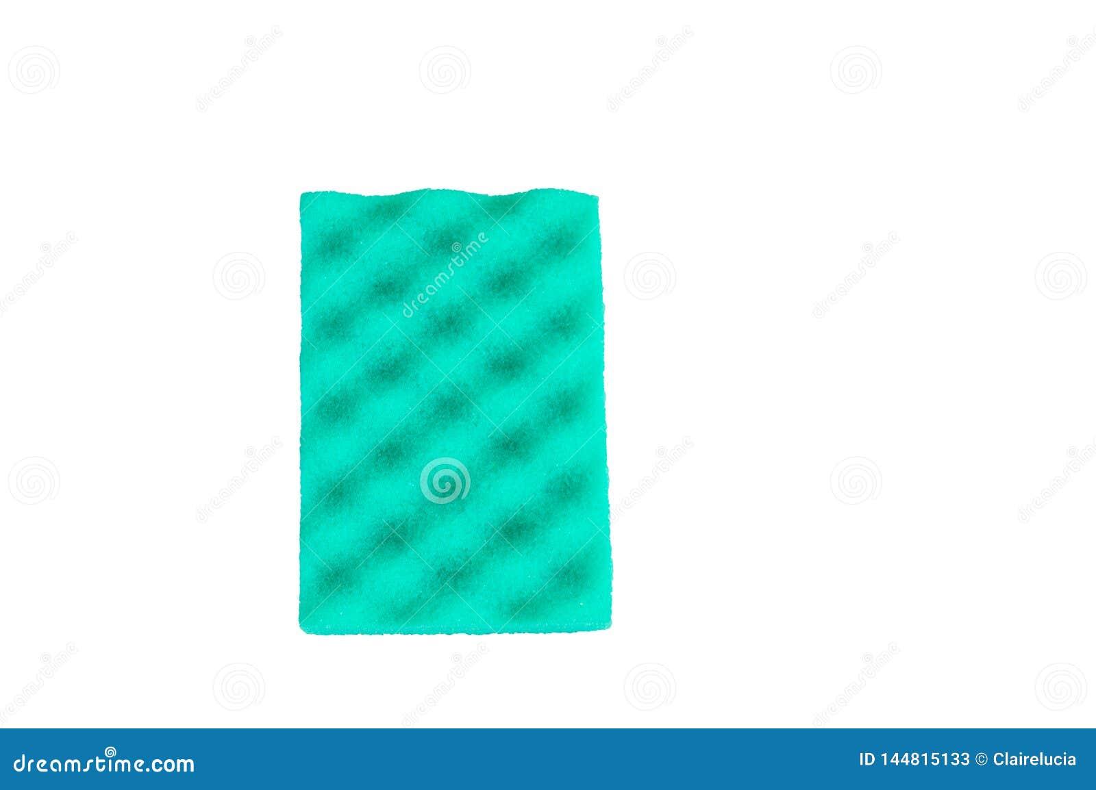 Το πράσινο σφουγγάρι για τον καθαρισμό που απομονώθηκε στο άσπρο υπόβ