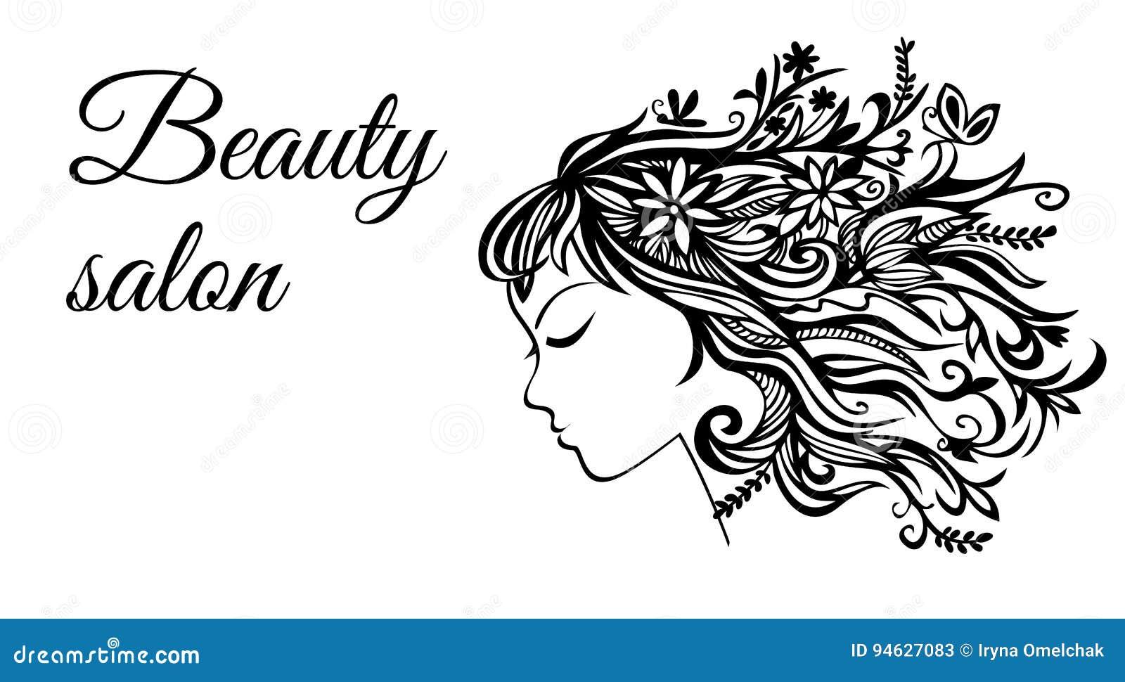 Το πρότυπο για το θηλυκό σαλόνι ομορφιάς Παρουσιάζει ένα σχεδιάγραμμα ενός κοριτσιού με την τρίχα φιαγμένη από λουλούδια