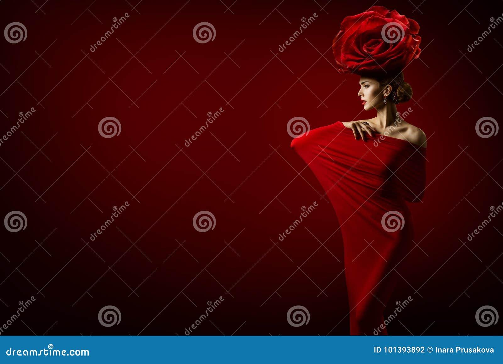 Το πρότυπο μόδας ομορφιάς και αυξήθηκε λουλούδι Hairstyle, γυναίκα στο κόκκινο