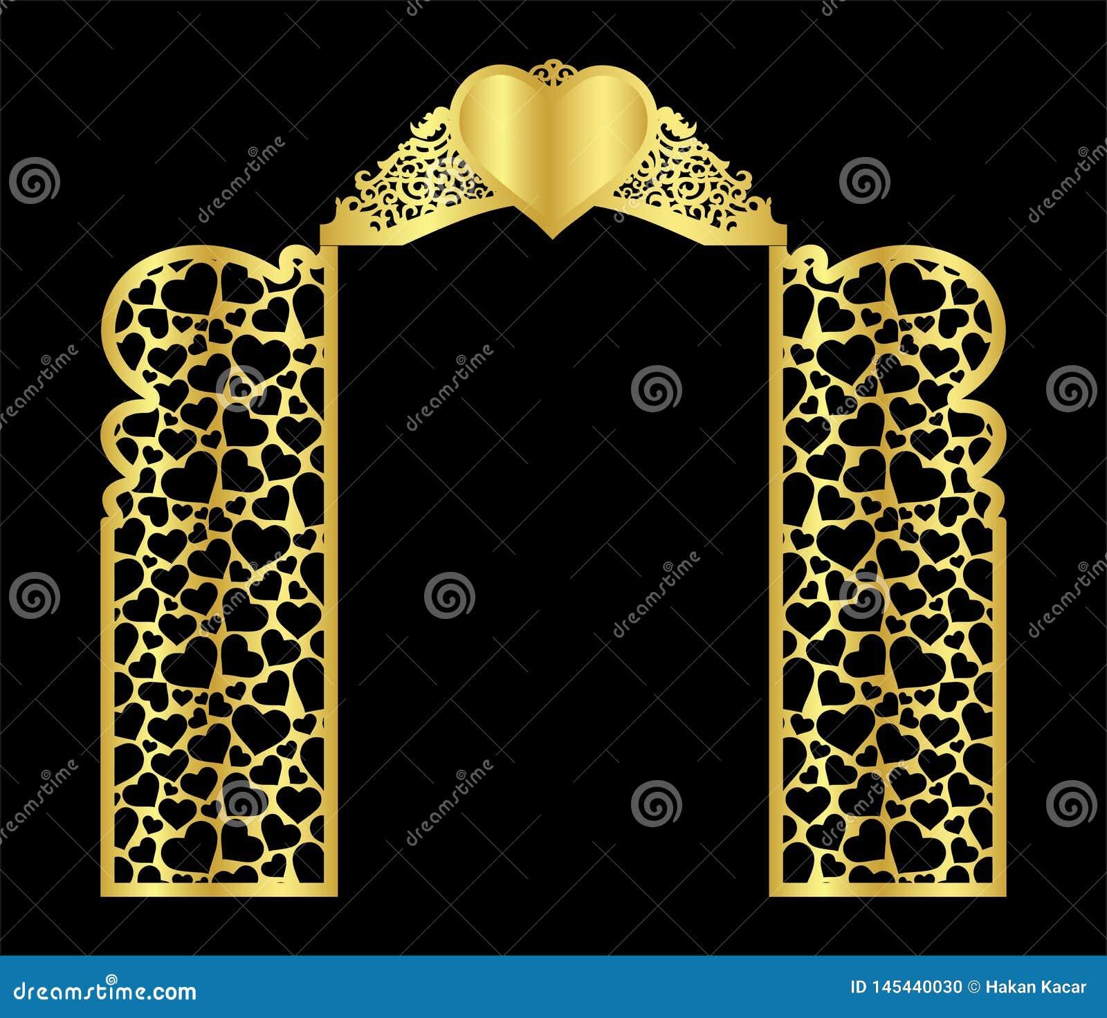 το πρότυπο πυλών γαμήλιων αψίδων για την κοπή από το βινύλιο του ντεκό