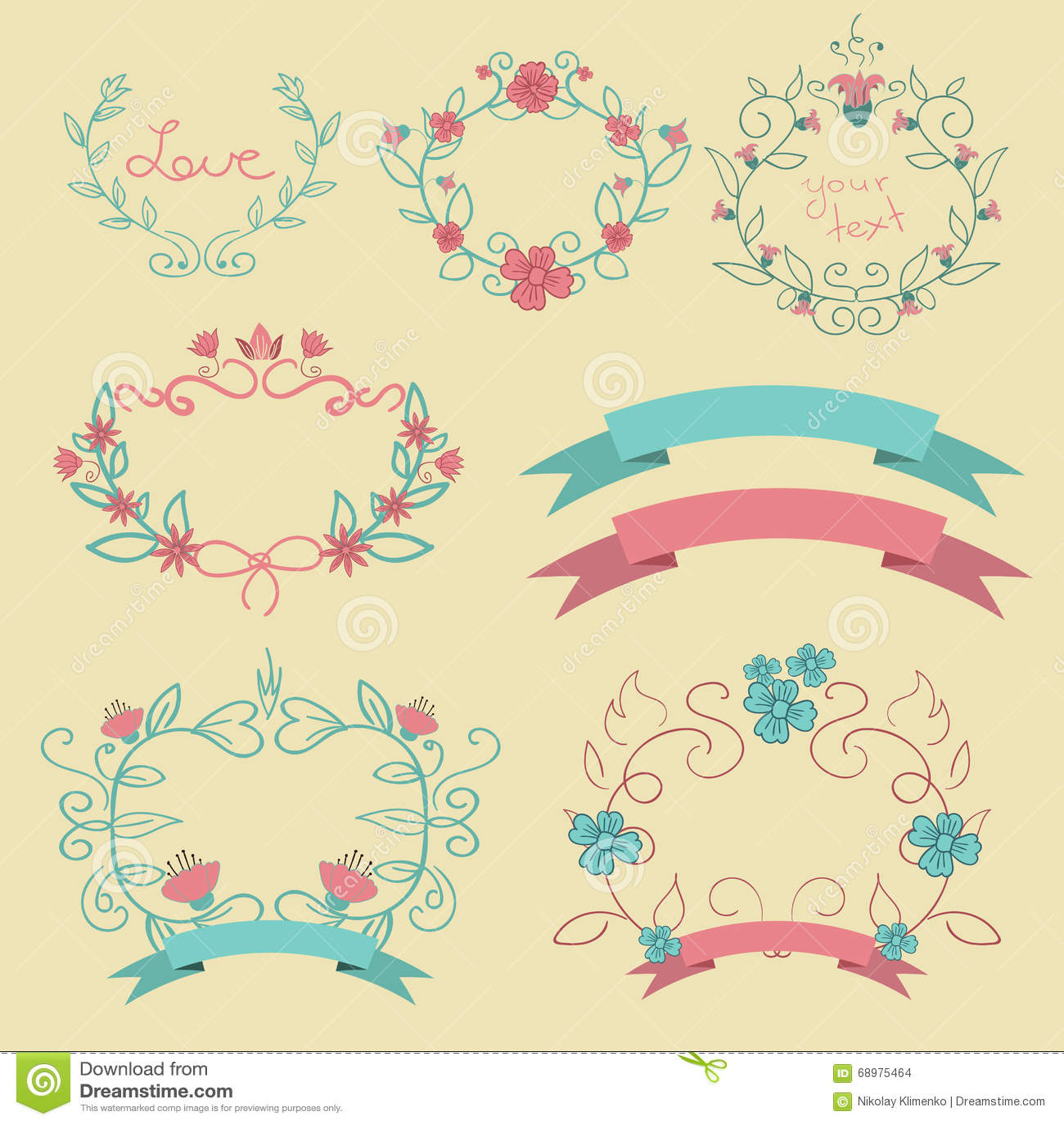 Το ρομαντικό σύνολο με τις κορδέλλες ετικετών χρώματος ανθίζει eps 10