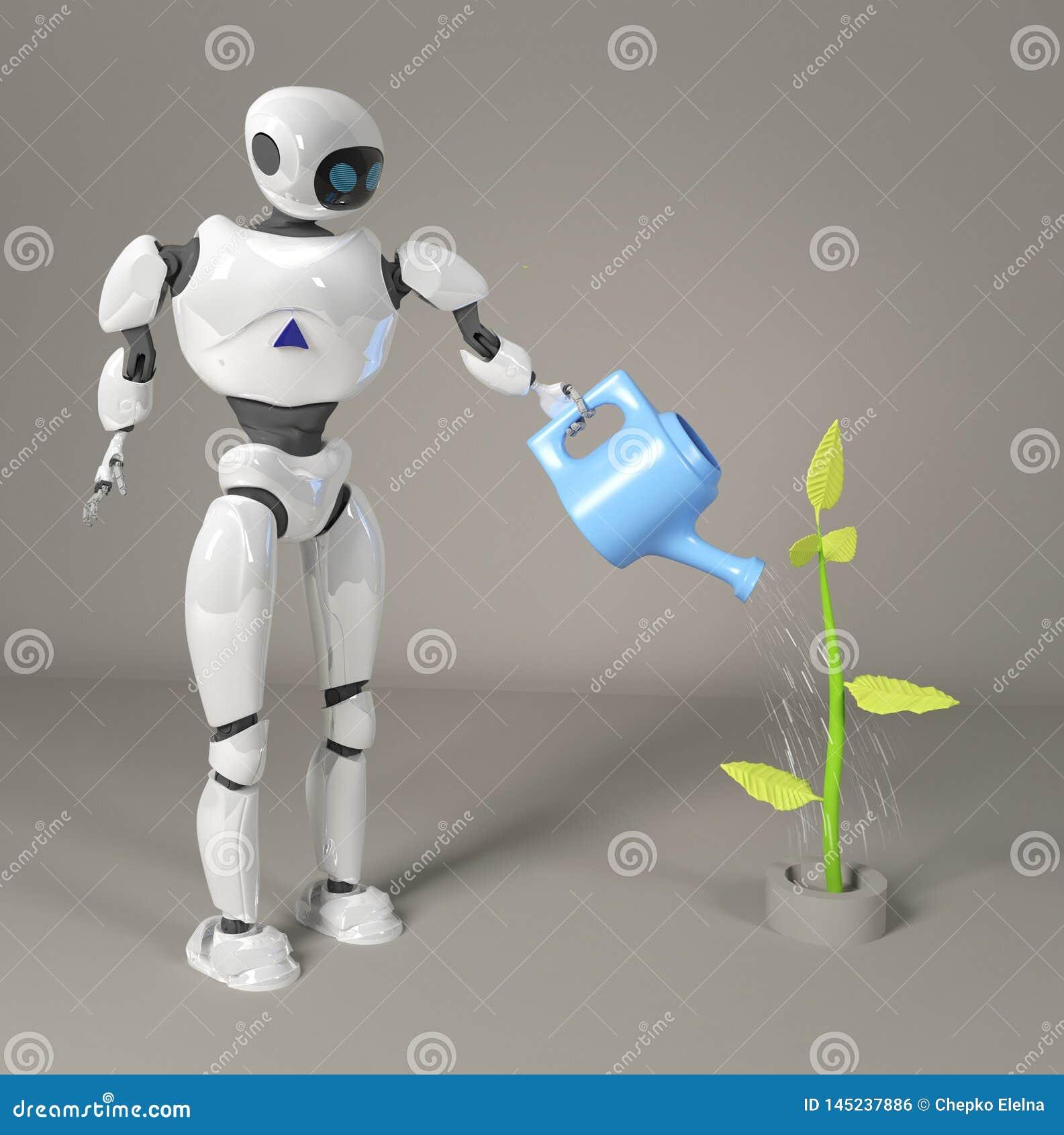 Το ρομπότ ποτίζει το νεαρό βλαστό τρισδιάστατο, δίνει