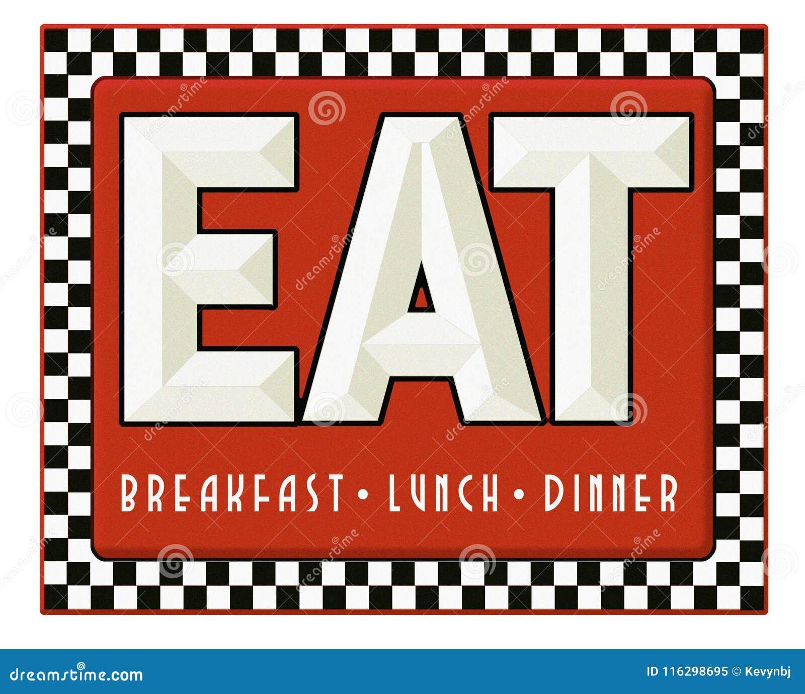 Το σημάδι γευματιζόντων αναδρομικό τρώει το γεύμα μεσημεριανού γεύματος προγευμάτων