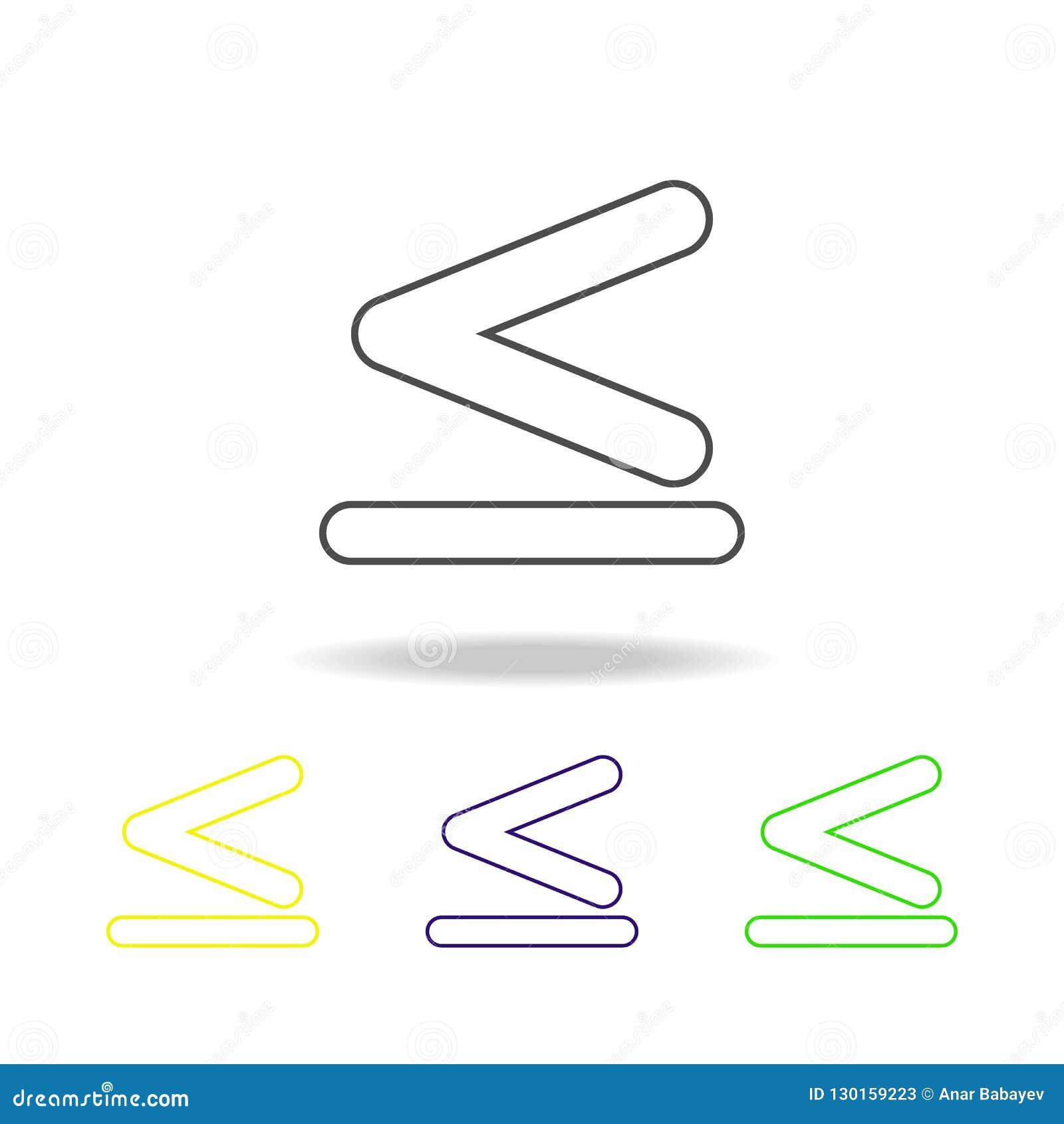 το σημάδι είναι λιγότερο από και ίσος στα πολύχρωμα εικονίδια Λεπτό εικονίδιο γραμμών για το σχέδιο ιστοχώρου και app την ανάπτυξ