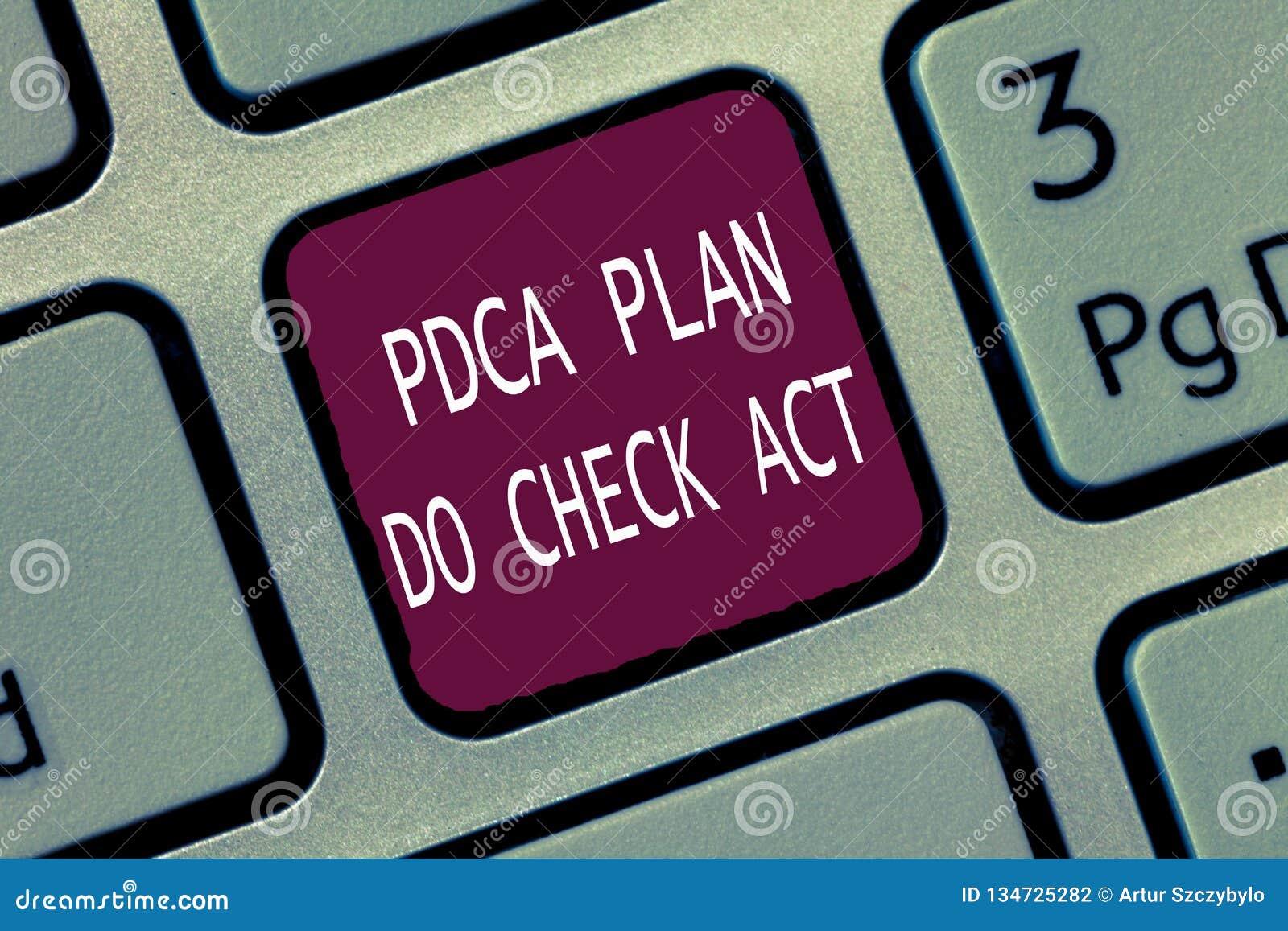 Το σημάδι κειμένων που παρουσιάζει Pdca σχέδιο ελέγχει το νόμο Εννοιολογική βελτιωμένη ρόδα διαδικασία Deming φωτογραφιών στην επ