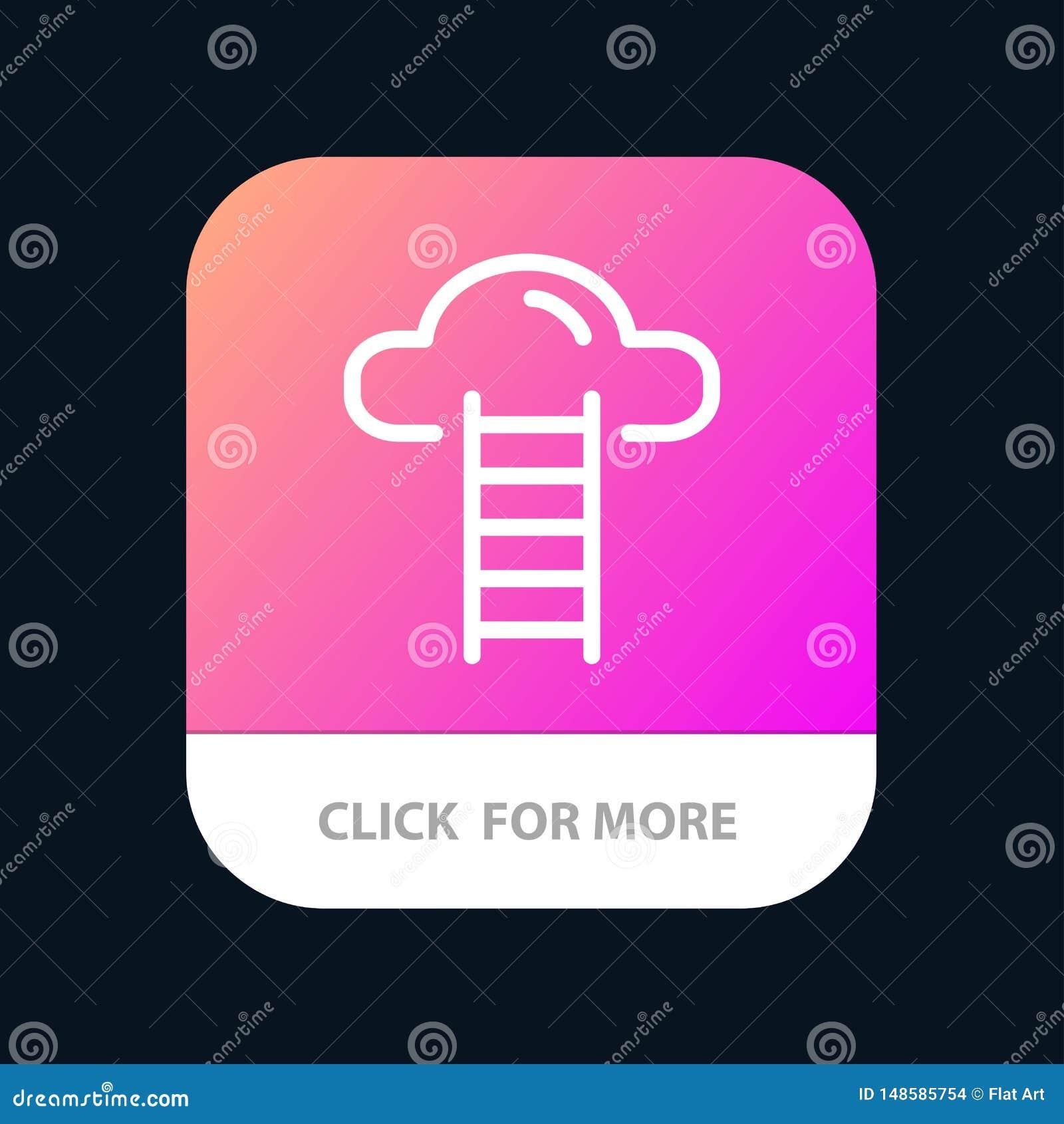 Το σκαλοπάτι, σύννεφο, χρήστης, διασυνδέει το κινητό App κουμπί Έκδοση αρρενωπών και IOS γραμμών