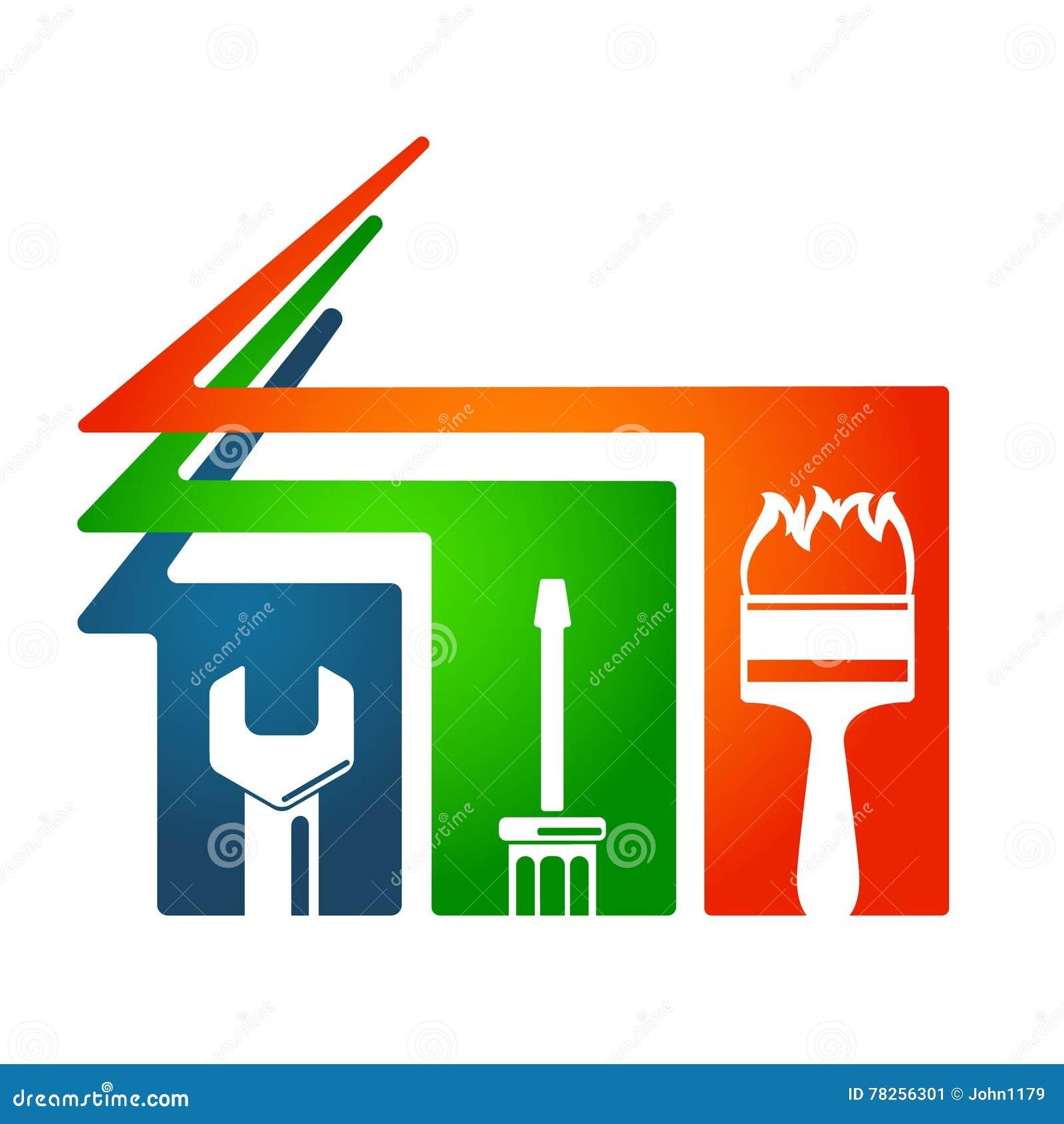 Το σπίτι επισκευάζει το σύμβολο εργαλείων