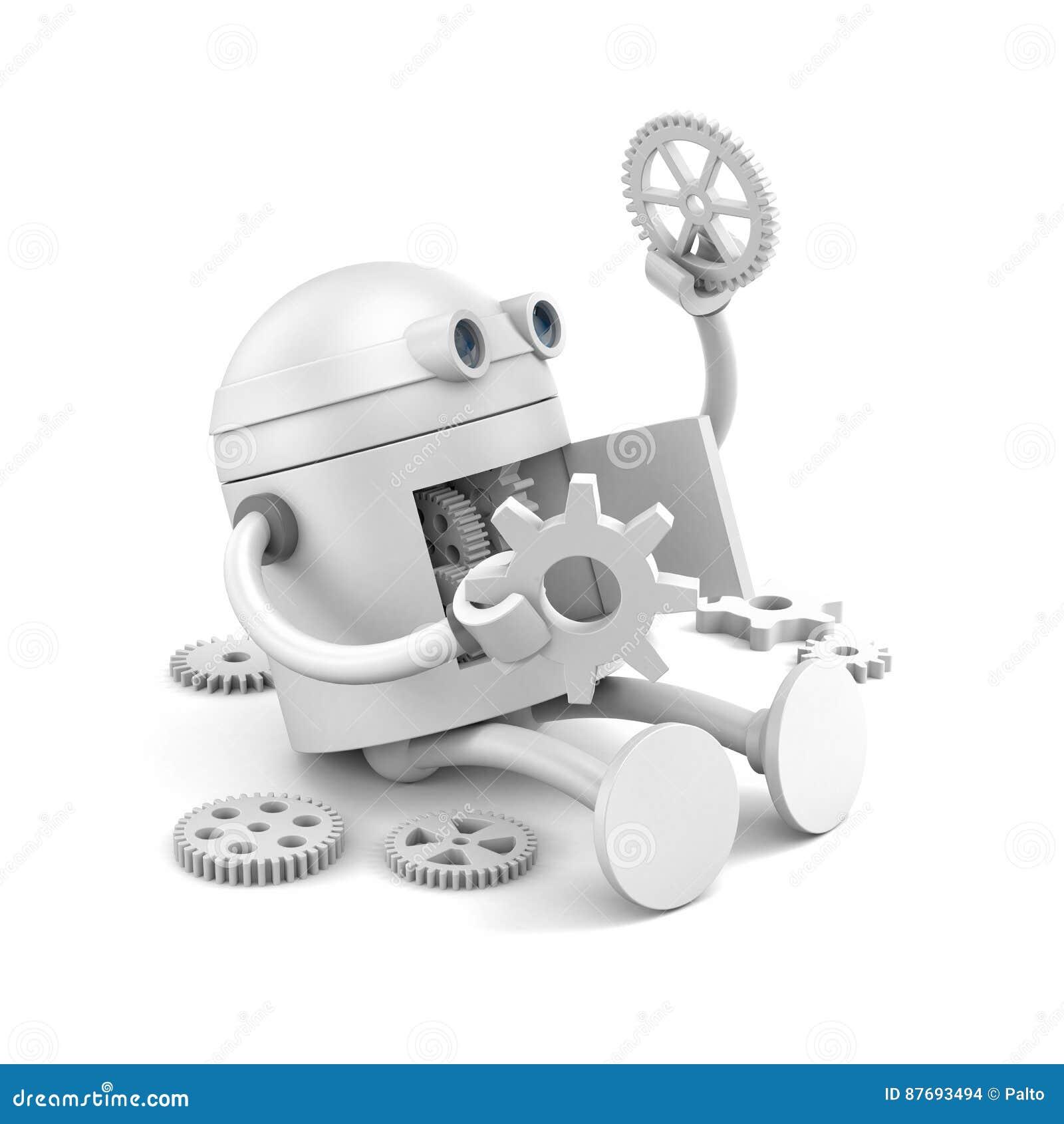 Το σπασμένο ρομπότ εξετάζει τις λεπτομέρειες του μηχανισμού του για τα προγράμματα ιστοχώρου σας