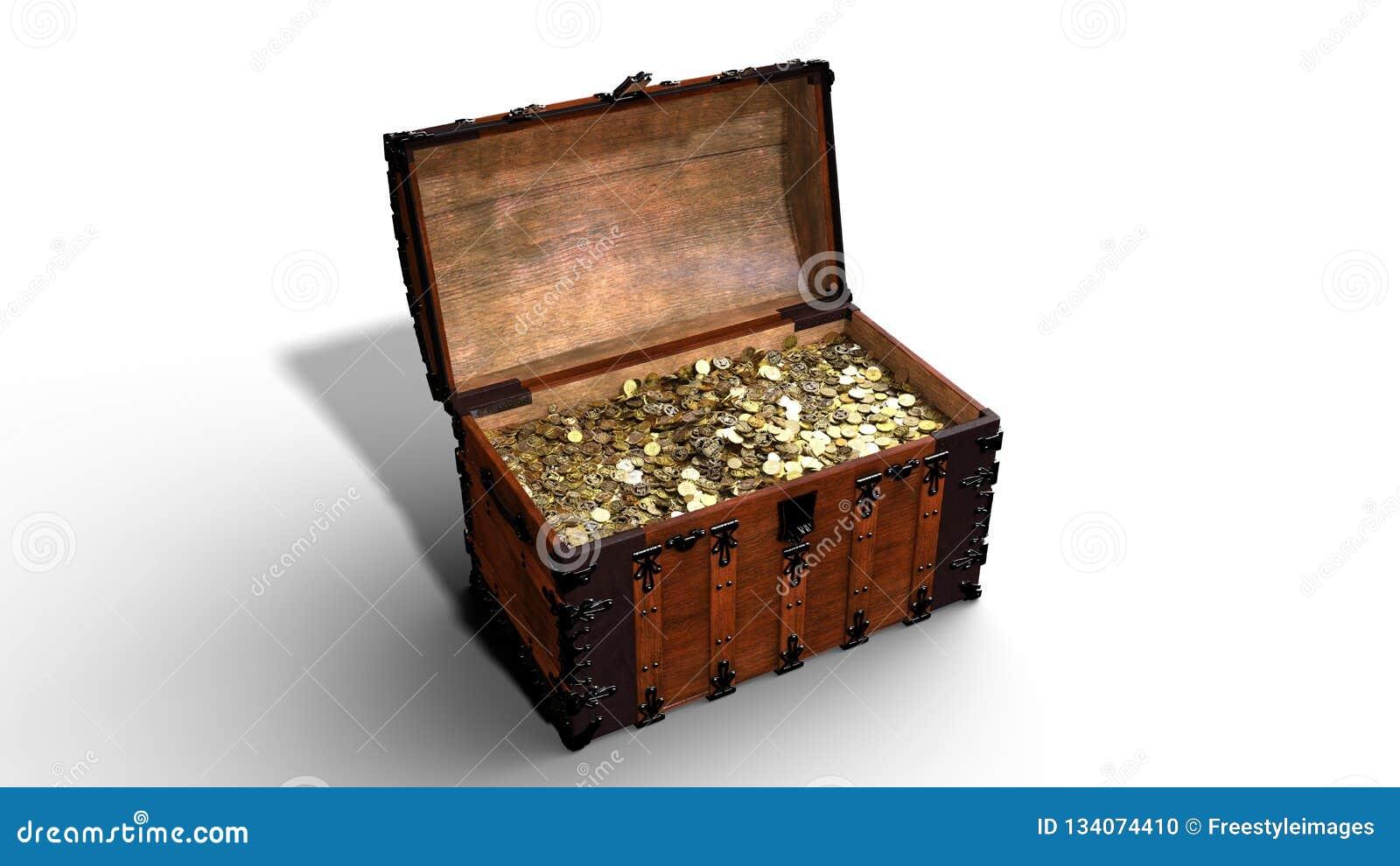 Το στήθος θησαυρών με τα χρυσά νομίσματα, ανοικτό παλαιό ξύλινο σύνολο κιβωτίων του χρυσού που απομονώνεται στο άσπρο υπόβαθρο, τ