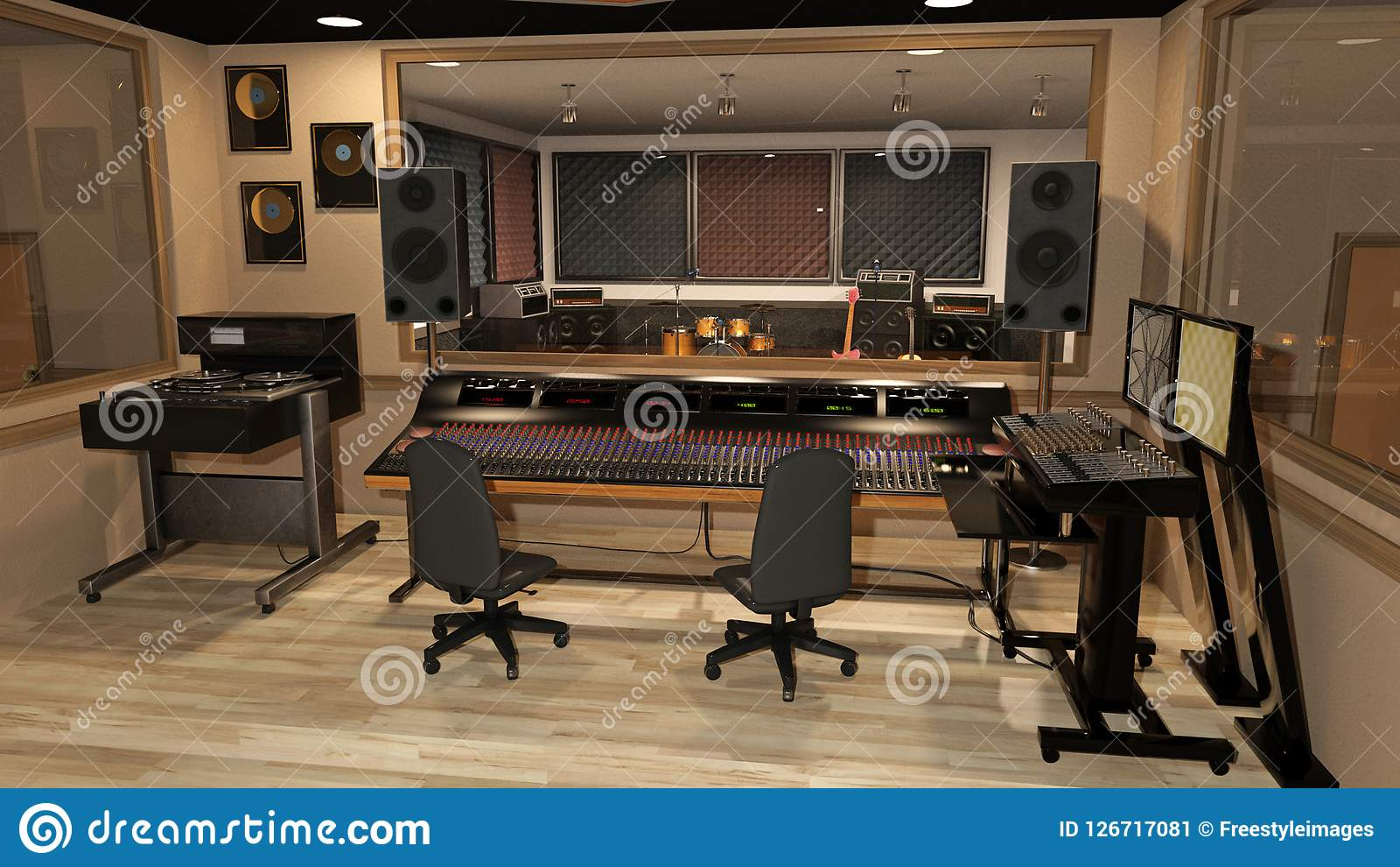 Το στούντιο καταγραφής μουσικής με τον υγιή αναμίκτη, τα όργανα, τους ομιλητές, και τον ακουστικό εξοπλισμό, τρισδιάστατο δίνει