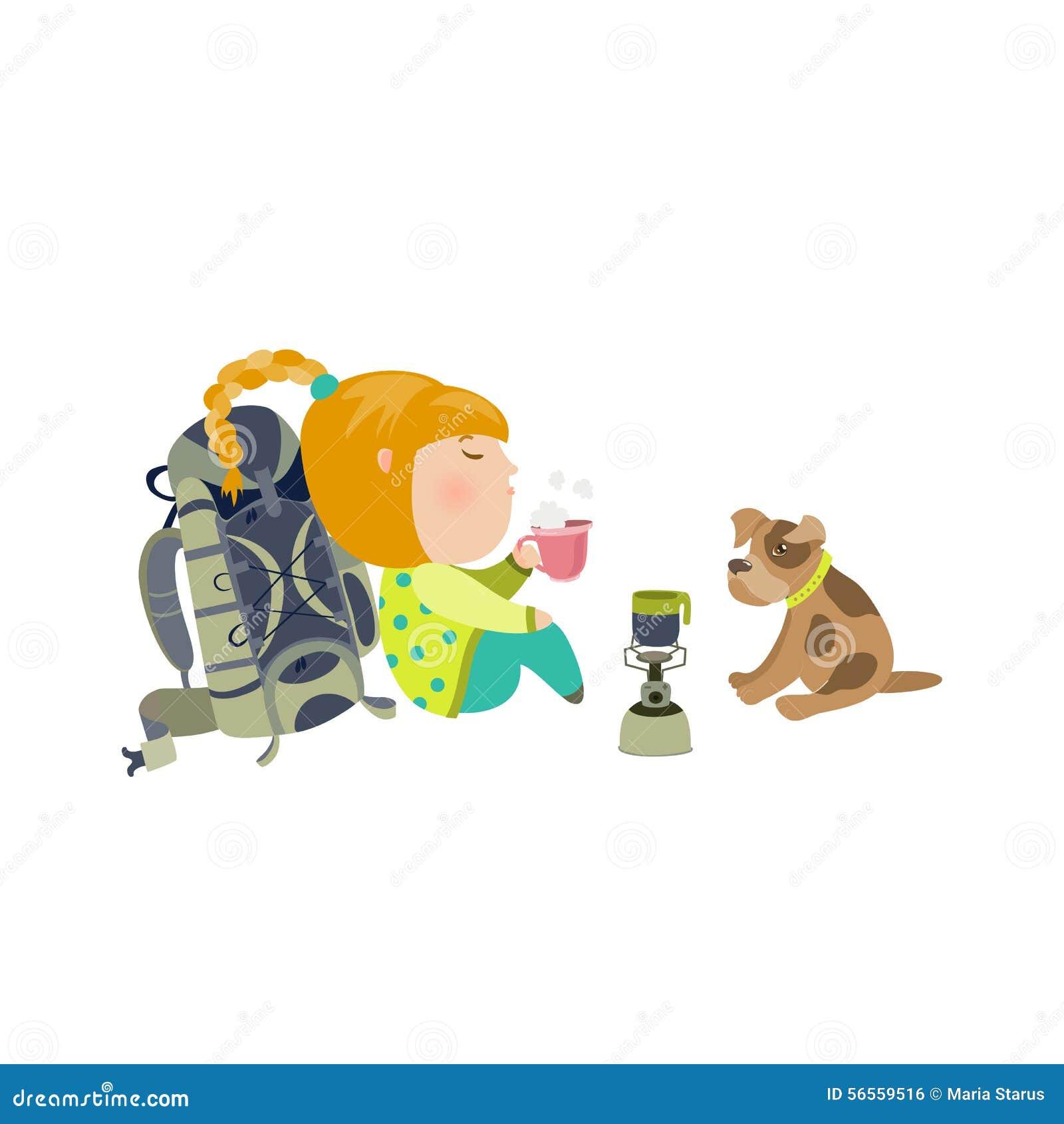 Download Το στρατοπεδεύοντας κορίτσι πίνει το τσάι Διανυσματική απεικόνιση - εικονογραφία από picnic, γραφικός: 56559516