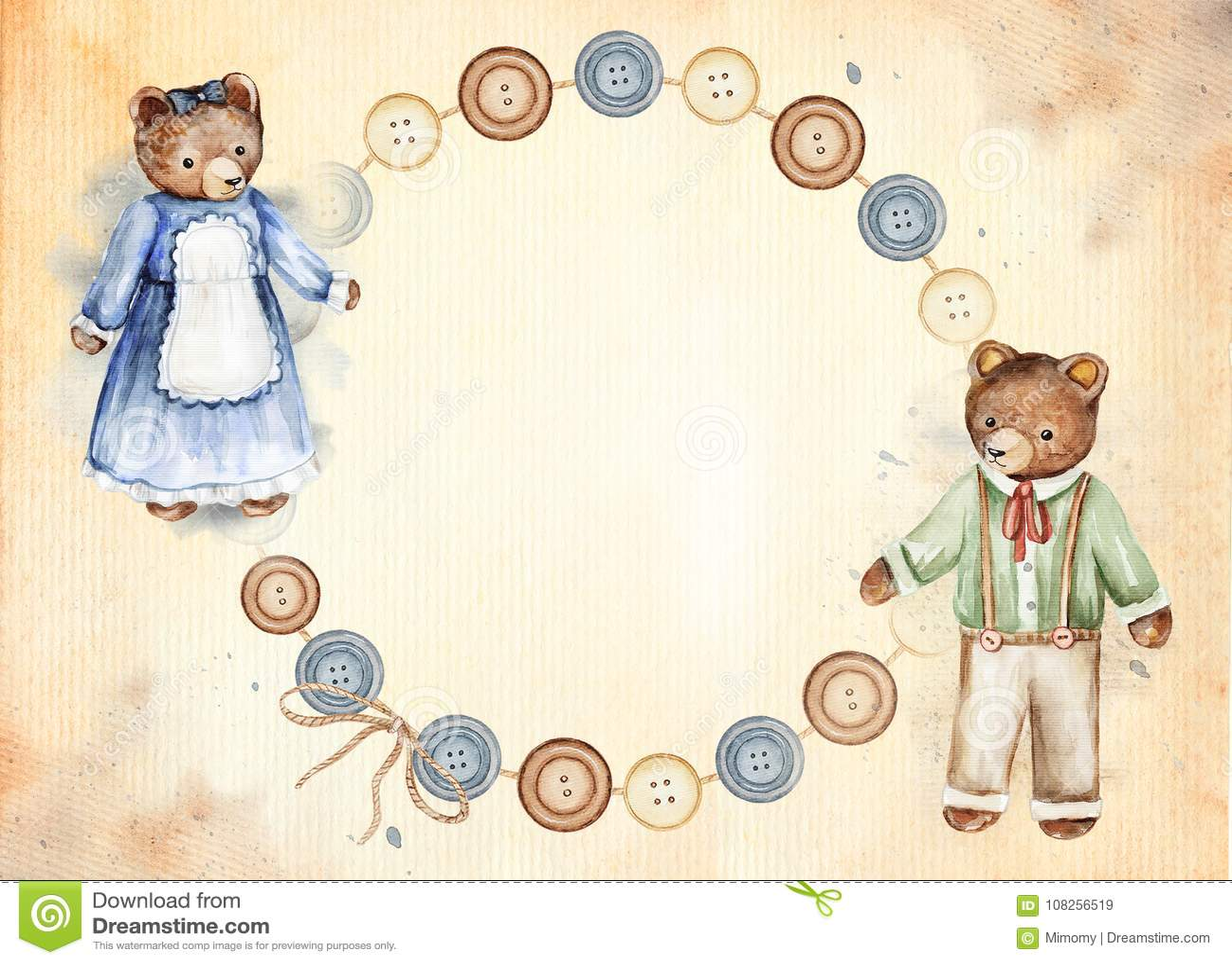7a83ba46aa Εκλεκτής ποιότητας στρογγυλό πλαίσιο με τις χαριτωμένα αρκούδες και τα  κουμπιά Συρμένη χέρι απεικόνιση Watercolor