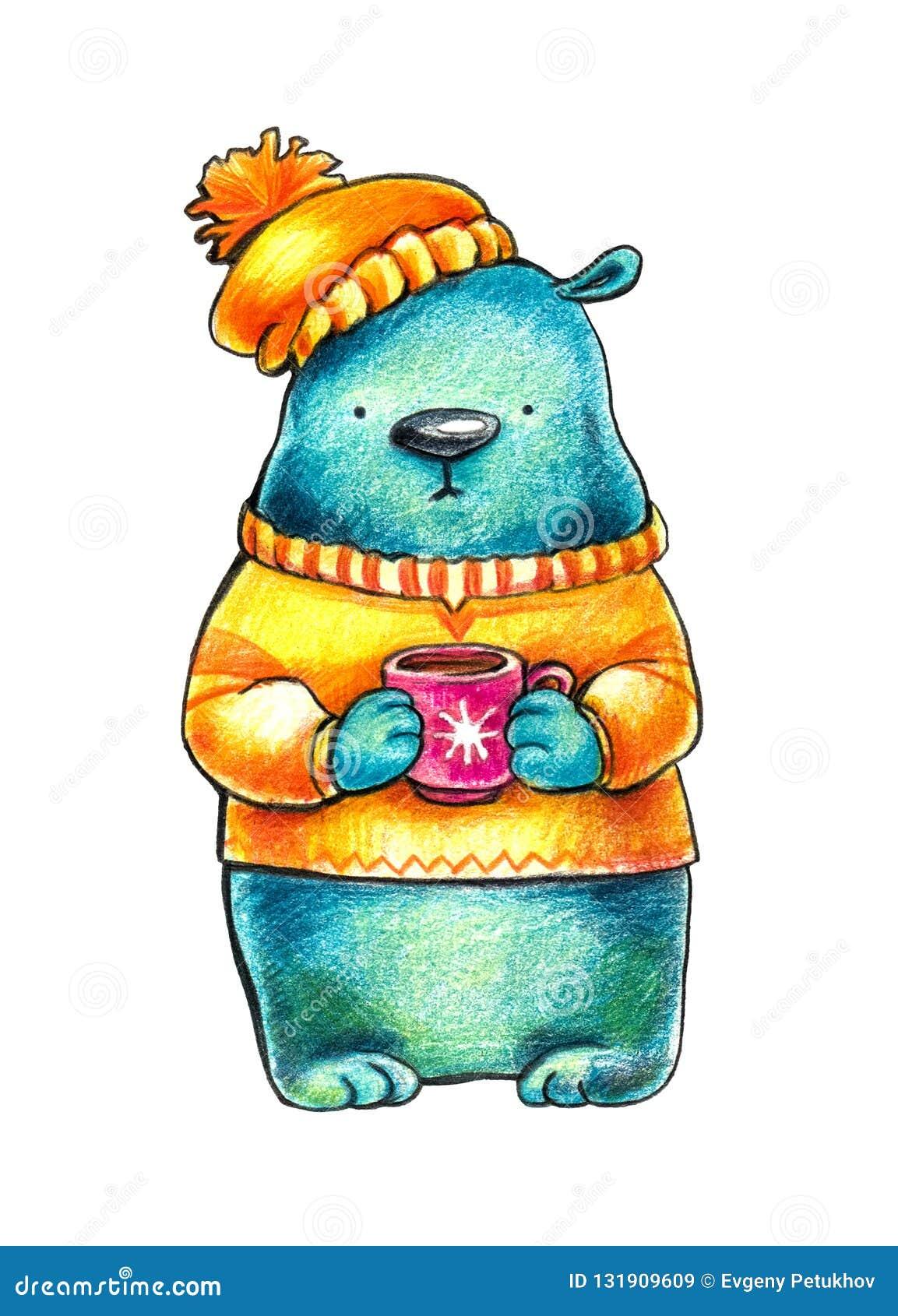 Το συμπονετικό μπλε αντέχει σε μια πορτοκαλιά μπλούζα και ένα χειμερινό καπέλο κρατά τον καφέ σε μια κόκκινη κούπα Ilustration σε