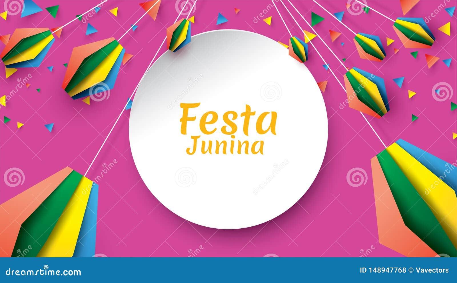 Το σχέδιο φεστιβάλ Junina Festa στην τέχνη εγγράφου και το επίπεδο ύφος με τις σημαίες κόμματος και το φανάρι εγγράφου, μπορούν ν