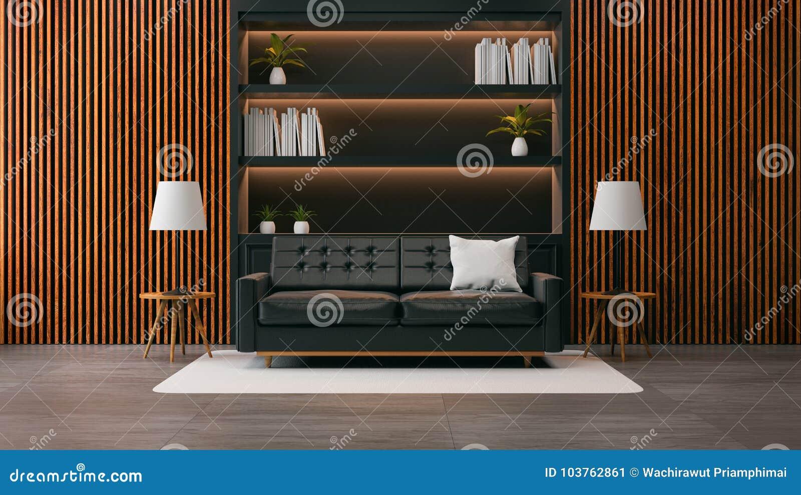 Το σύγχρονο εσωτερικό σχέδιο καθιστικών σοφιτών, ο μαύρος καναπές με τη μαύρη βιβλιοθήκη και ο παλαιός ξύλινος τοίχος το /3d δίνο