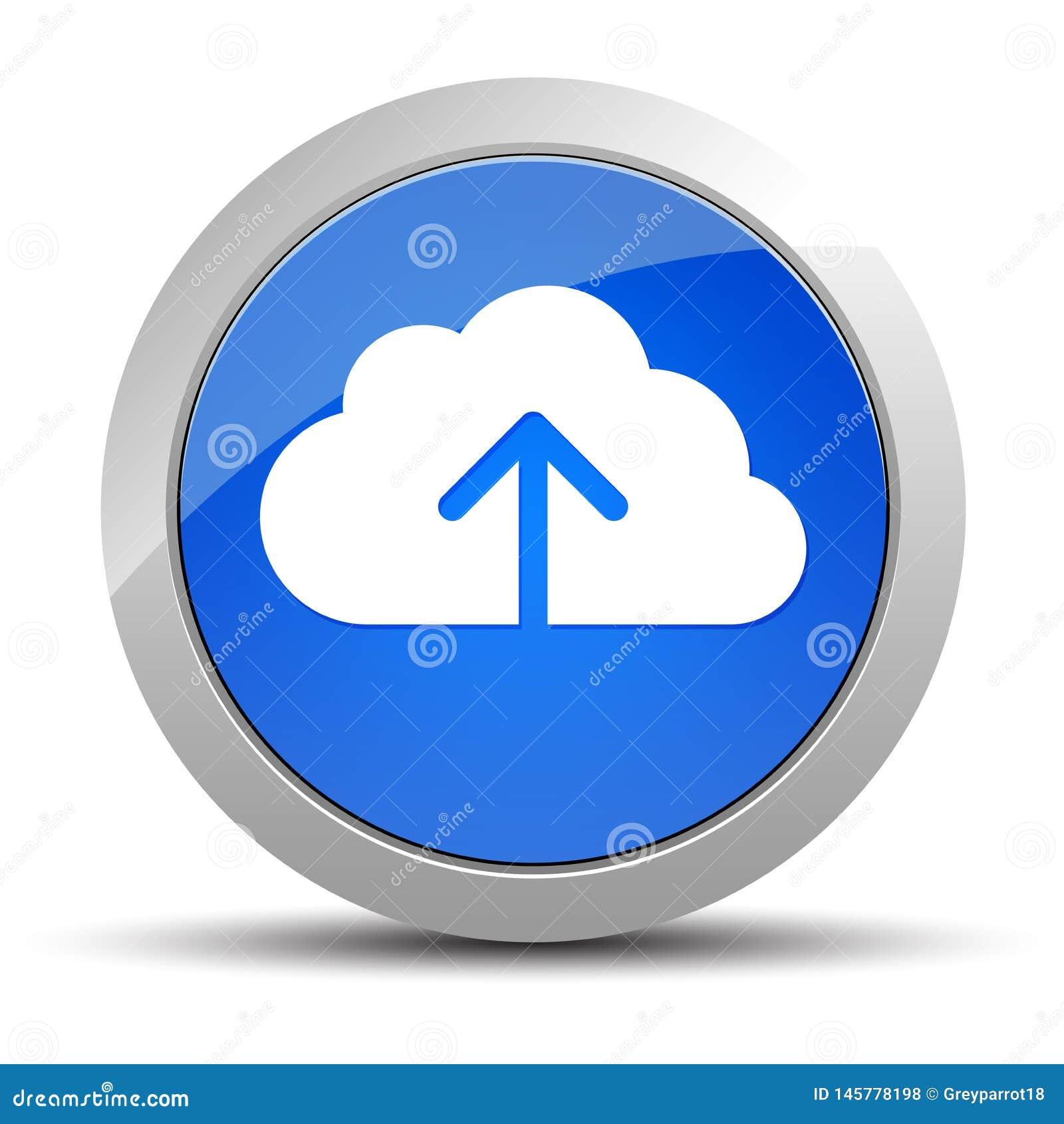 Το σύννεφο φορτώνει την μπλε στρογγυλή απεικόνιση κουμπιών εικονιδίων