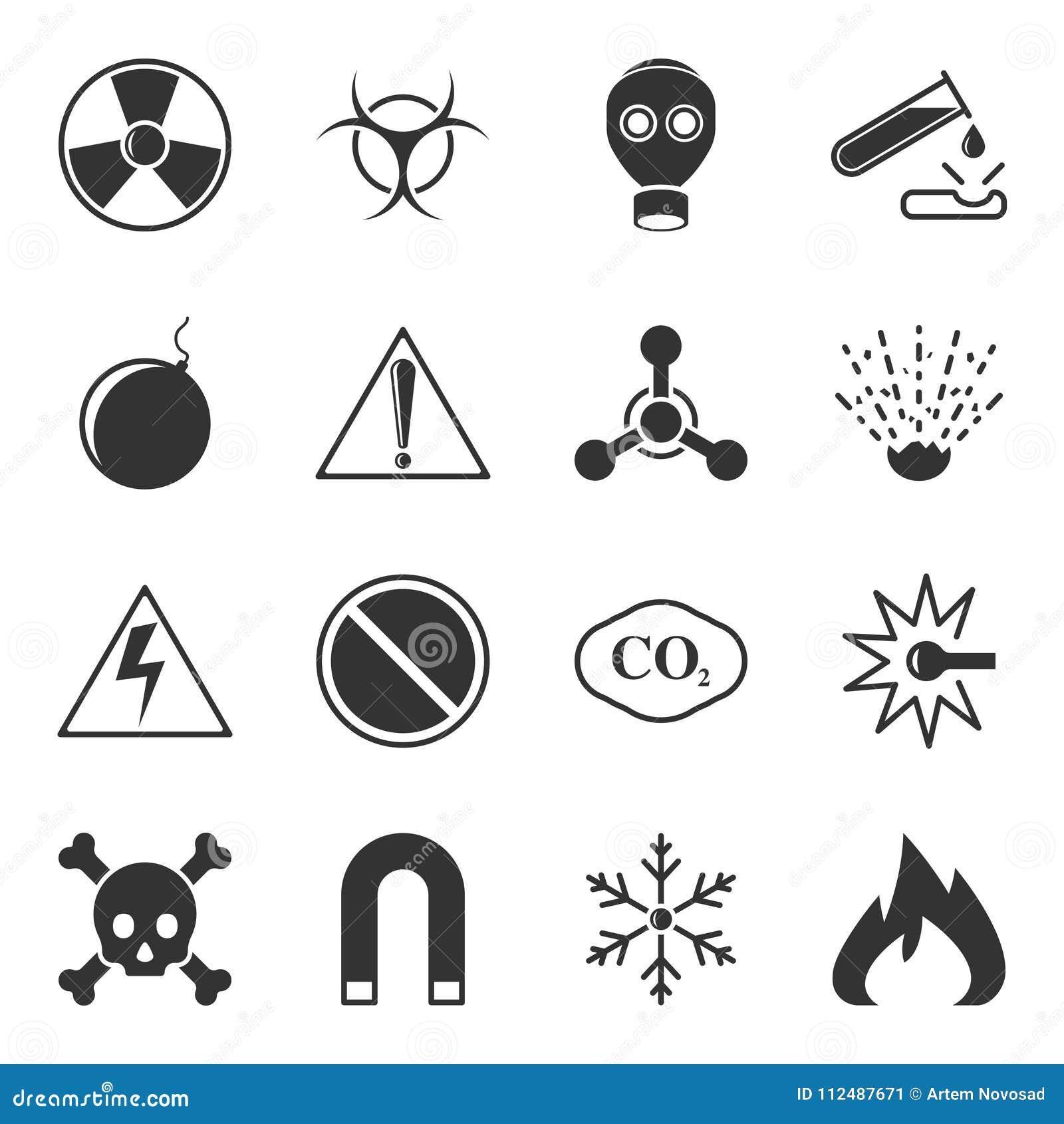 Το σύνολο διανυσματικών εικονιδίων προειδοποίησης σε ένα άσπρο υπόβαθρο, περιέχει τα σημάδια κινδύνου, την τοξικότητα, το explosi