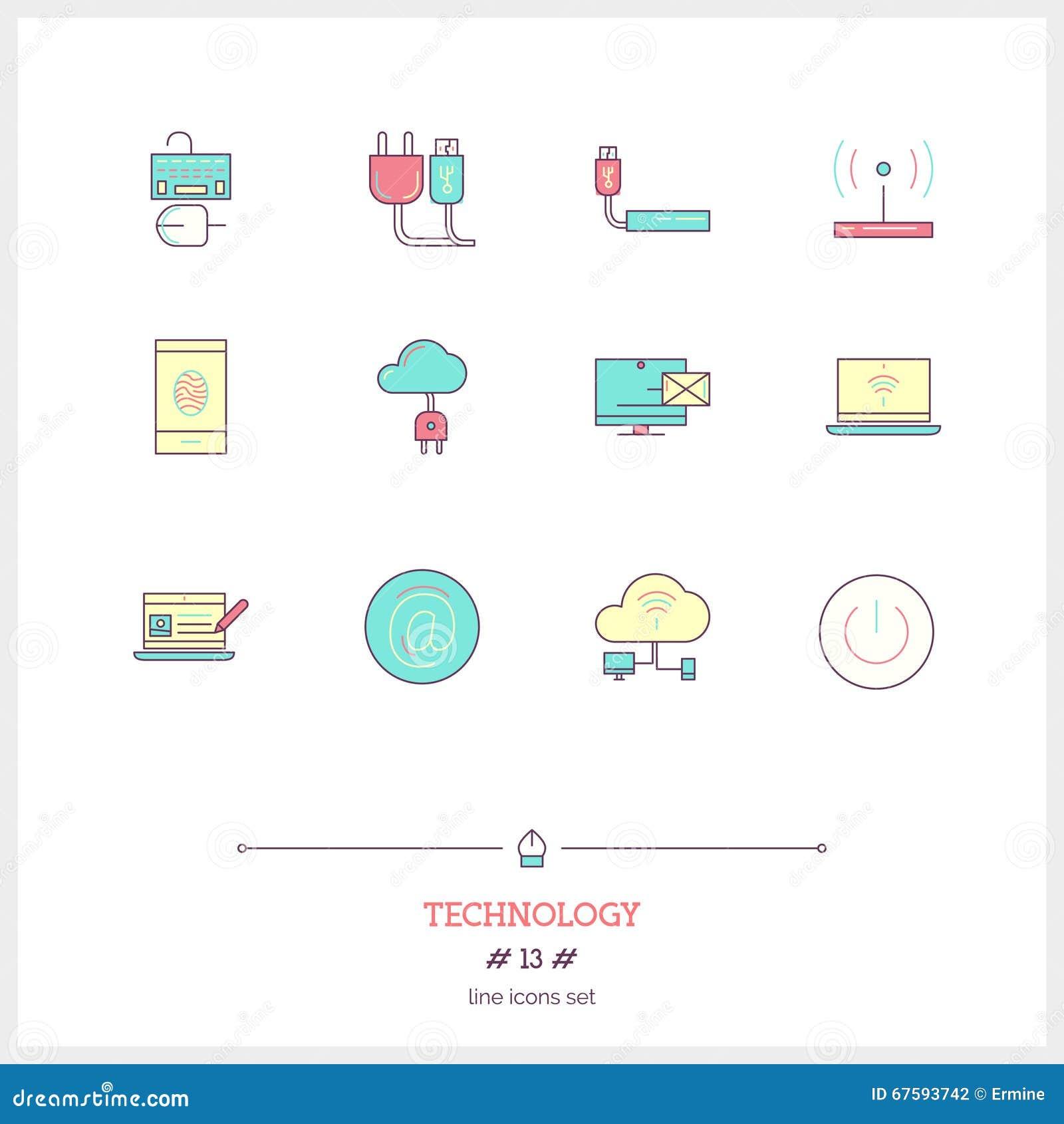 Το σύνολο εικονιδίων γραμμών χρώματος εξοπλισμού τεχνολογίας, διαδικασία, αντιτίθεται