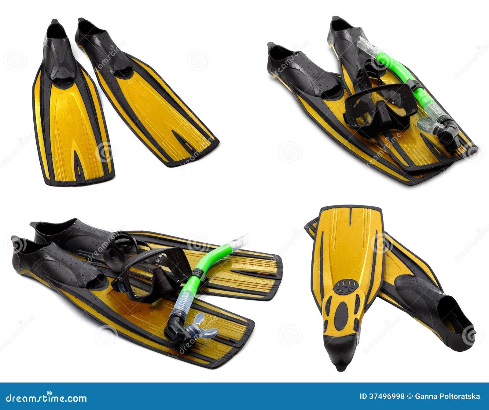 Το σύνολο κίτρινων βατραχοπέδιλων, μάσκα, κολυμπά με αναπνευτήρα για την κατάδυση με την πτώση νερού