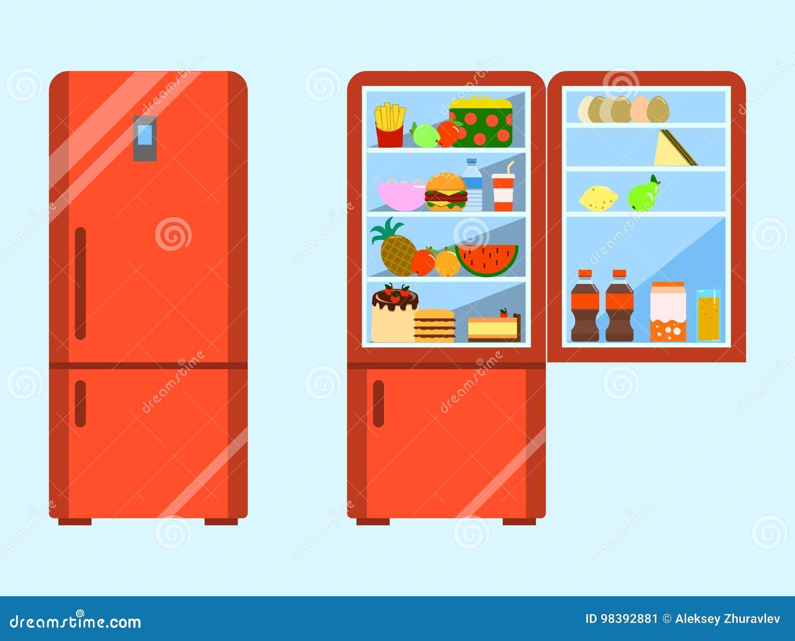 Το σύνολο των τροφίμων άνοιξε και κλείνει το ψυγείο Ψυγείο και φρούτα, ψυκτήρας και λαχανικό Επίπεδο διάνυσμα σχεδίου