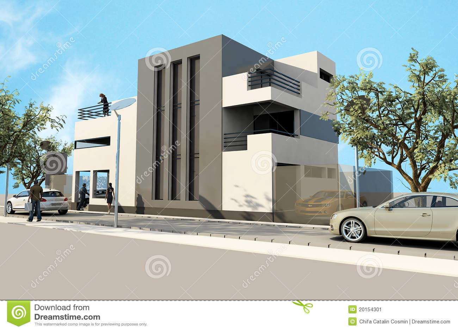 το τρισδιάστατο σύγχρονο σπίτι, δίνει 3ds σε ανώτατο, στο άσπρο backg