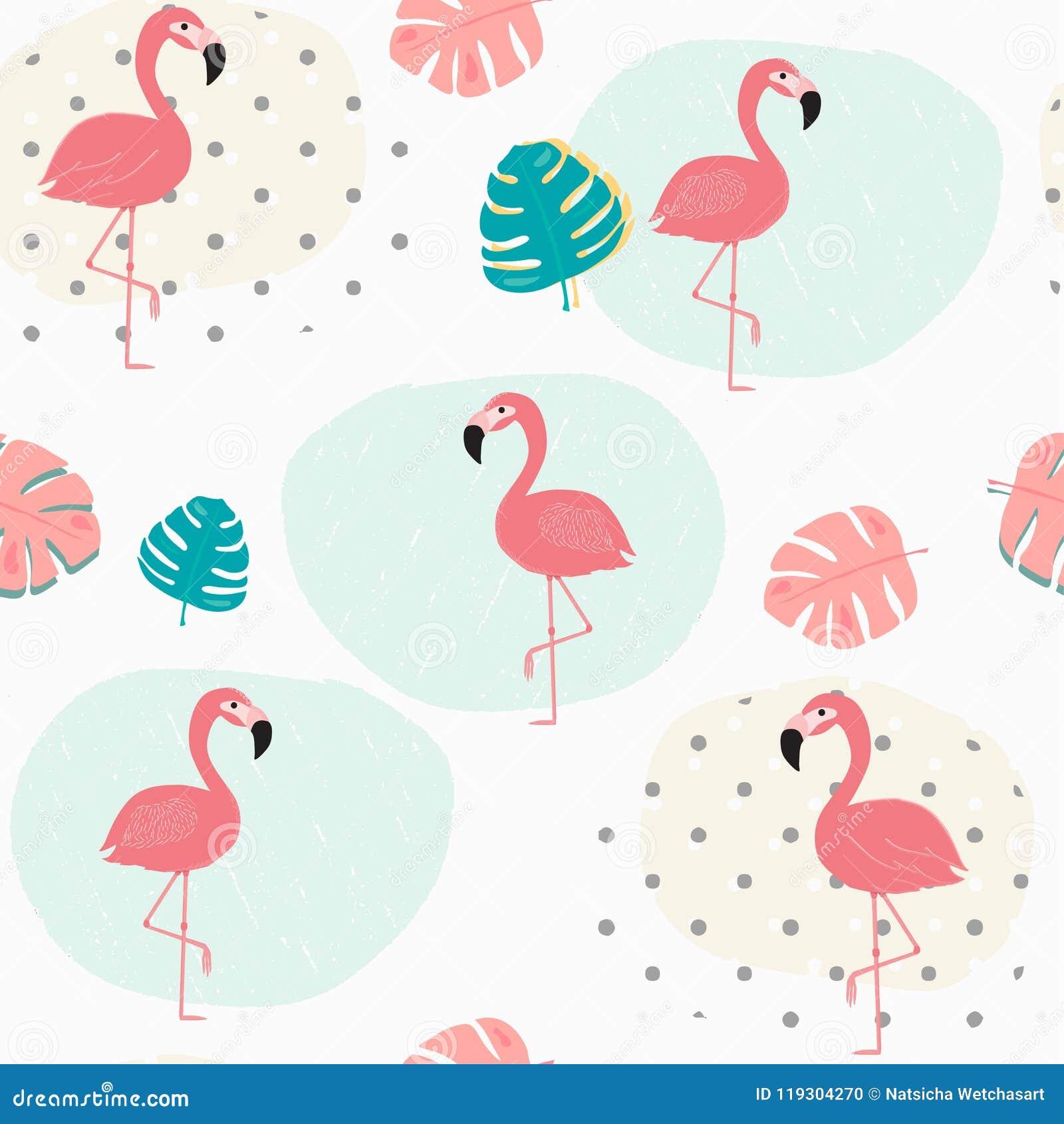 Το τροπικό καλοκαίρι κρητιδογραφιών Doodle βγάζει φύλλα και ρόδινο άνευ ραφής υπόβαθρο σχεδίων φλαμίγκο