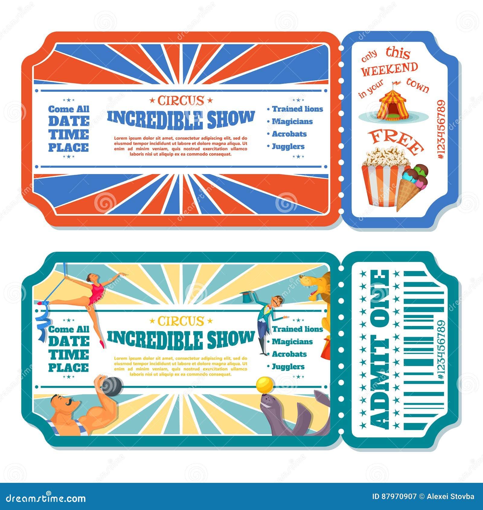Το τσίρκο μαγικό παρουσιάζει πρότυπα εισιτηρίων εισόδων επίσης corel σύρετε το διάνυσμα απεικόνισης
