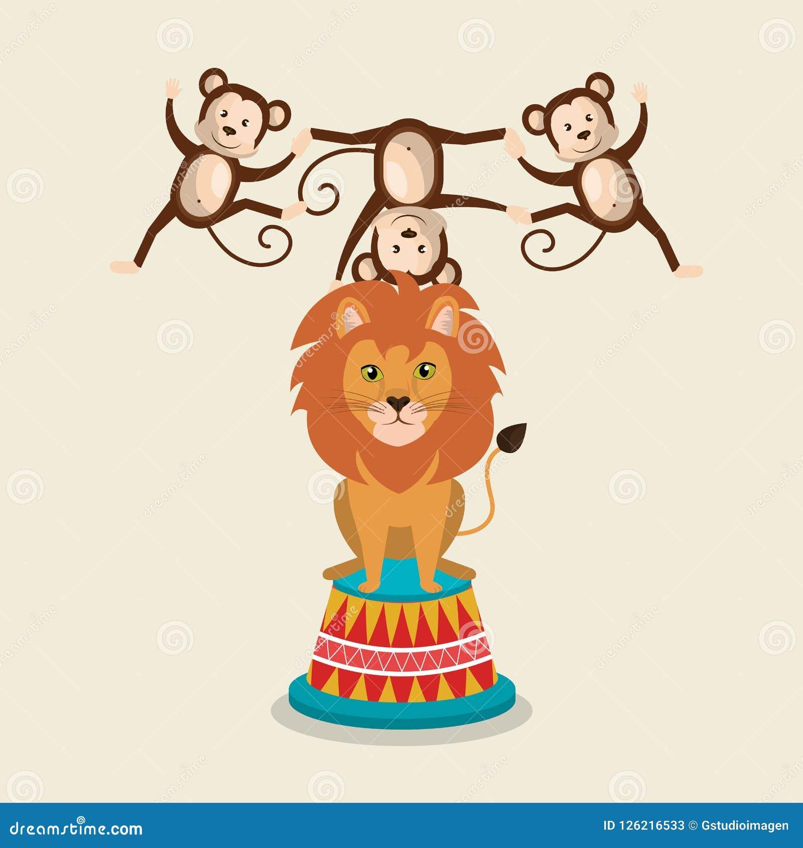 Το τσίρκο πιθήκων και λιονταριών παρουσιάζει