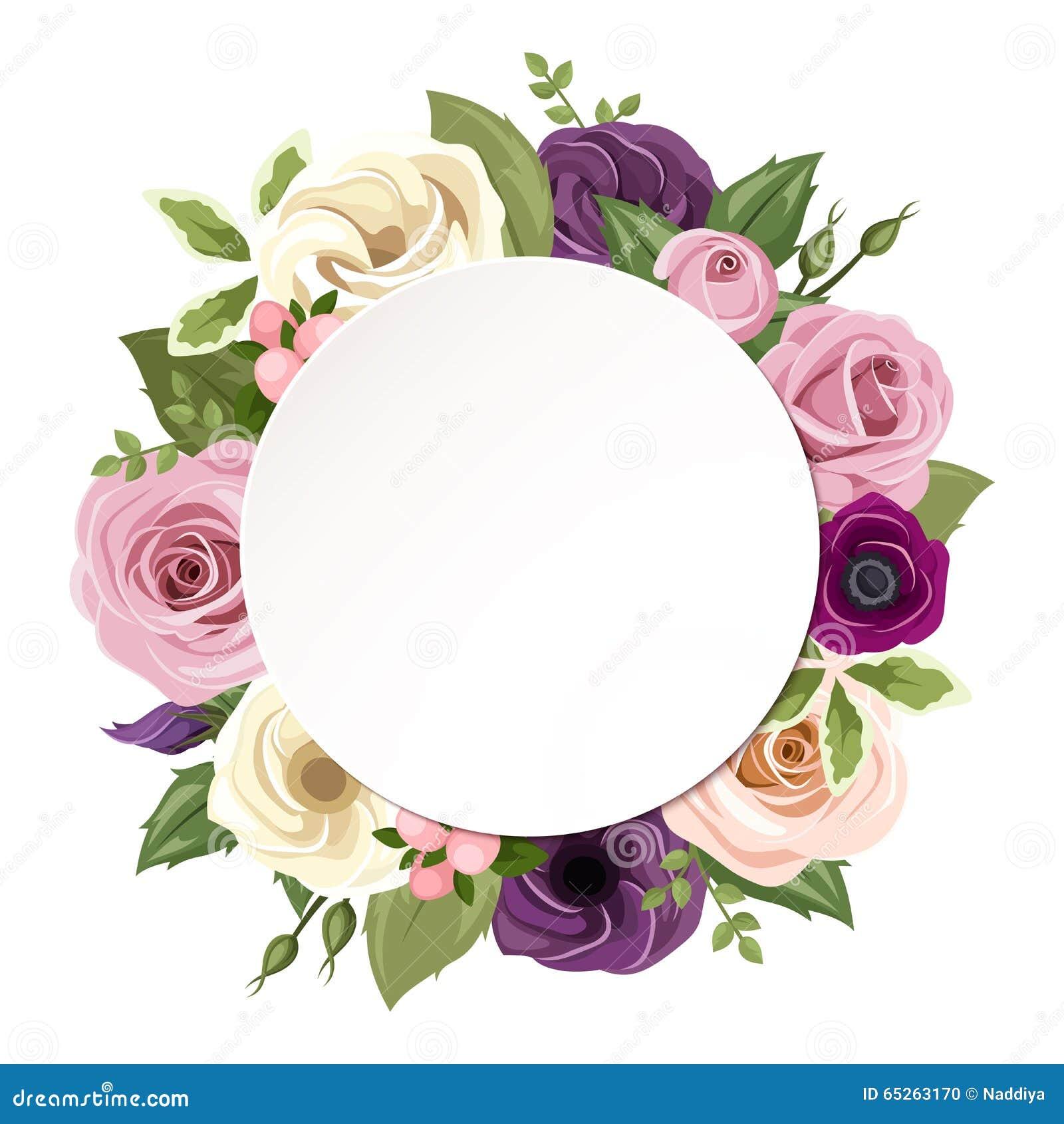 Το υπόβαθρο με τα ρόδινα, πορφυρά, πορτοκαλιά και άσπρα τριαντάφυλλα, το lisianthus και το anemone ανθίζει Διάνυσμα eps-10