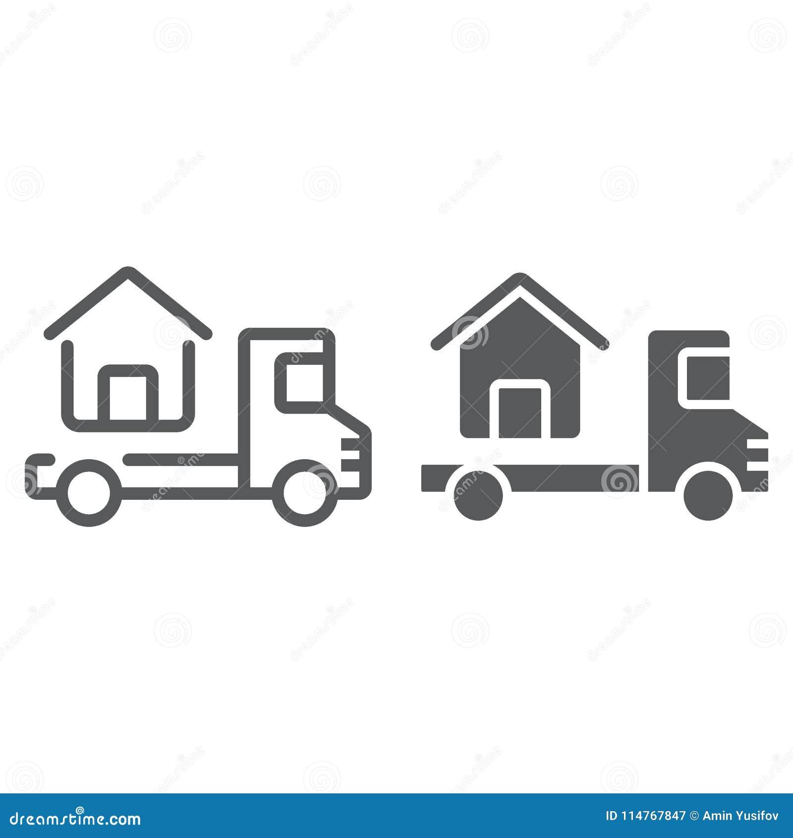 Το φορτηγό παραδίδει τον ιδιωτικό πυροσβεστικό σωλήνα και glyph το εικονίδιο