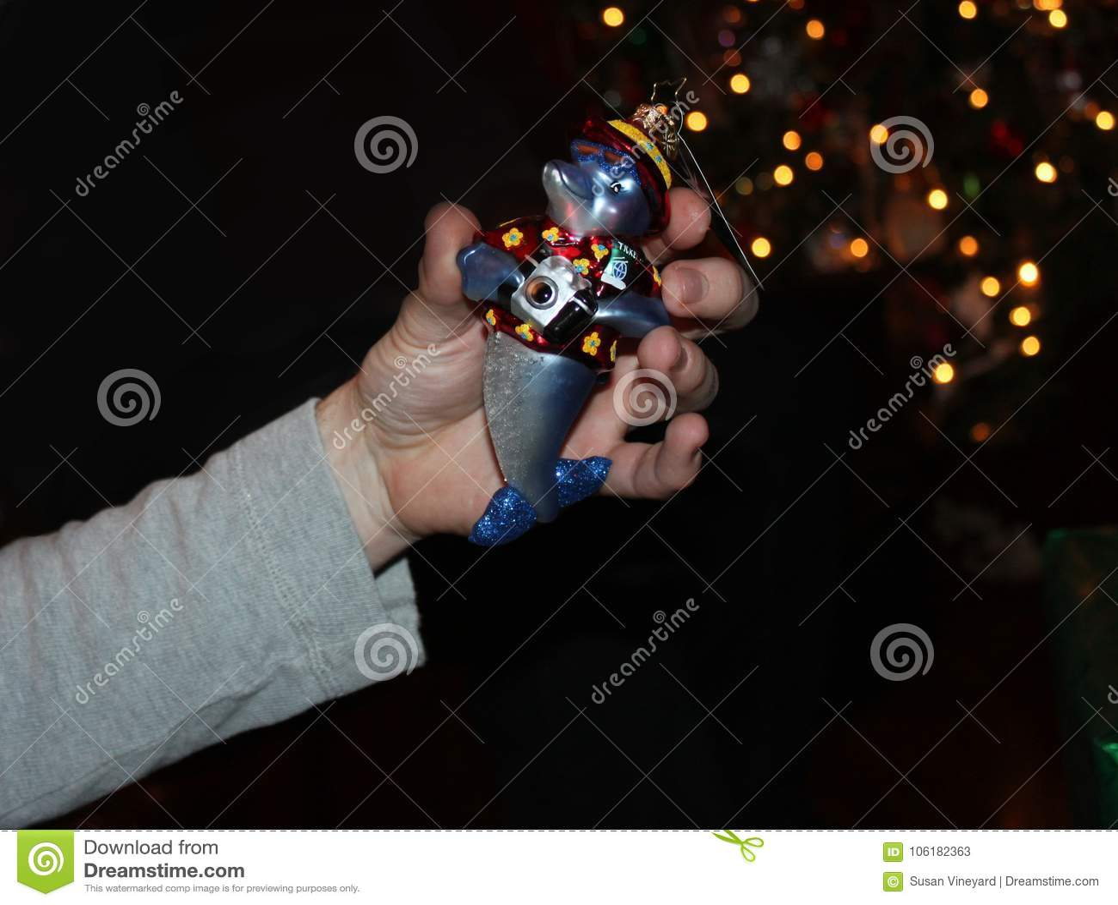 Το χέρι κρατά τη διακόσμηση χριστουγεννιάτικων δέντρων του dophin με τη κάμερα μπροστά από το χριστουγεννιάτικο δέντρο bokeh