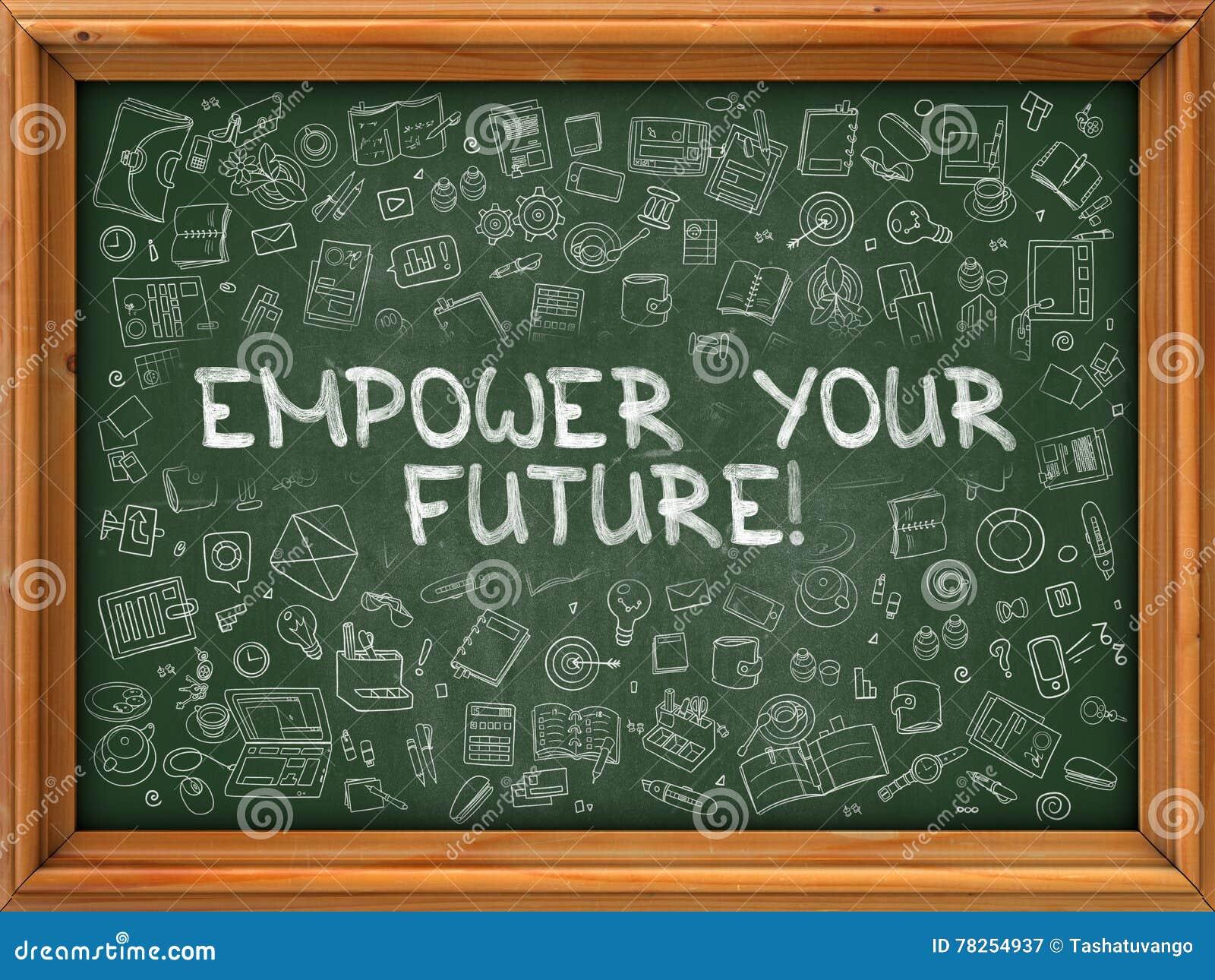 Το χέρι που σύρεται εξουσιοδοτεί το μέλλον σας στον πράσινο πίνακα κιμωλίας