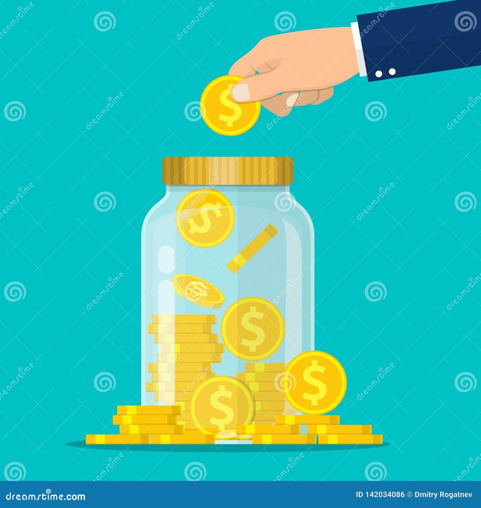 Το χέρι ρίχνει ένα χρυσό νόμισμα στο βάζο