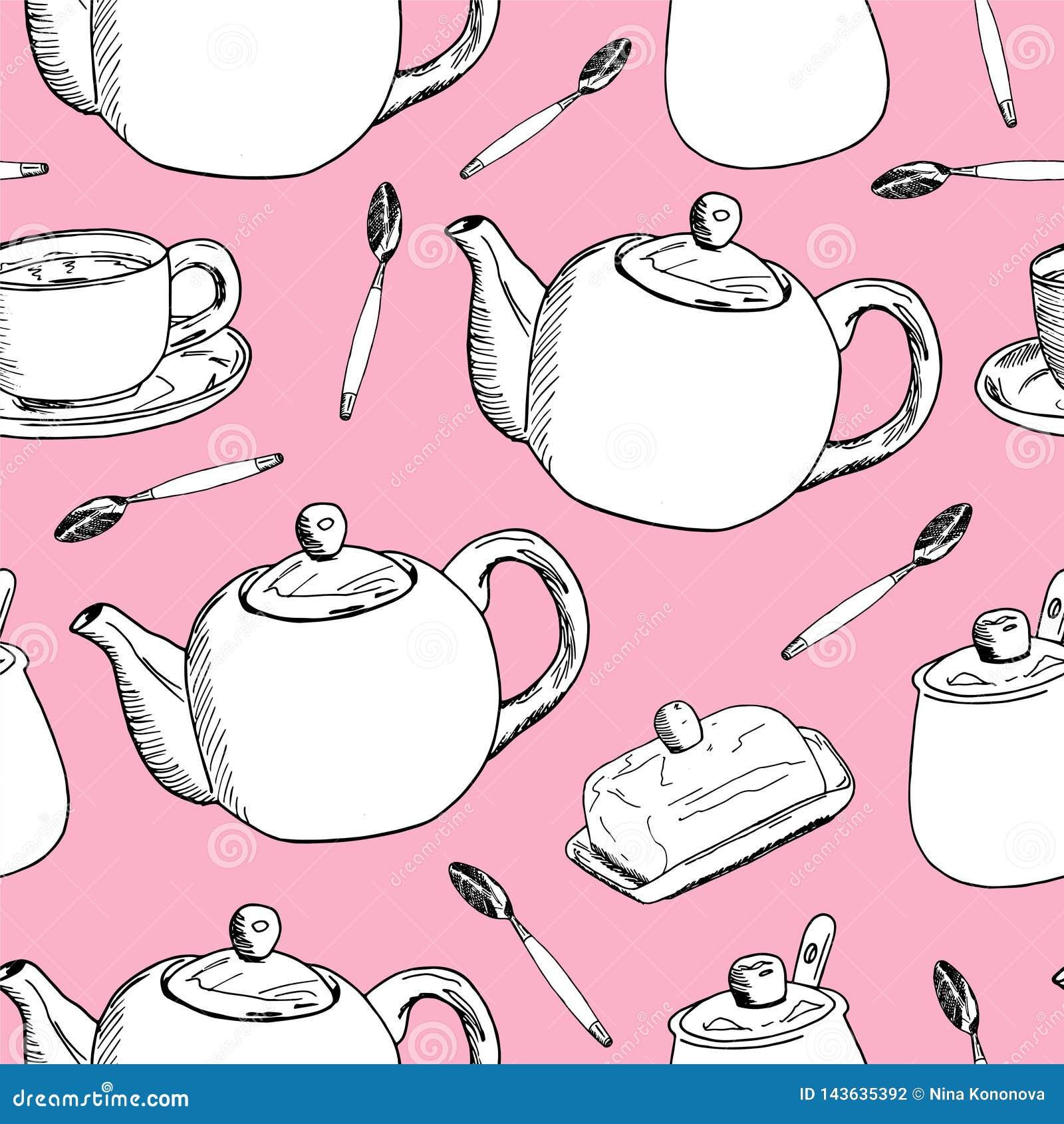 Το χέρι σύρει το άνευ ραφής πρότυπο Φλιτζάνι του καφέ, χρόνος τσαγιού επίσης corel σύρετε το διάνυσμα απεικόνισης